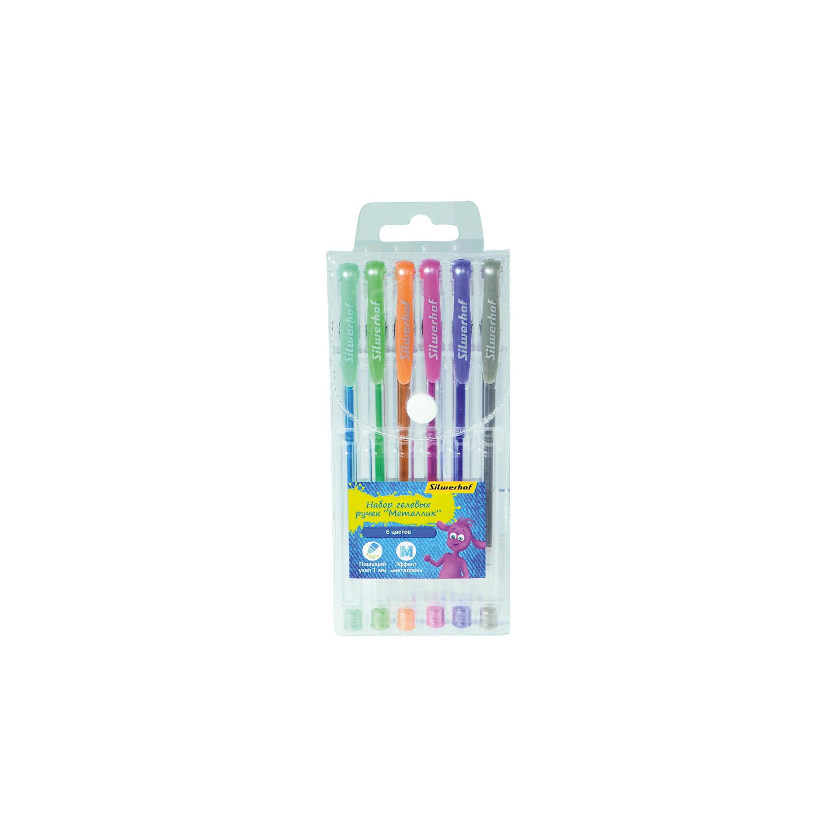 Silwerhof Ручка гелевая, набор 6шт, ДЖИНСОВАЯ КОЛЛЕКЦИЯ гастроном дели s26 офис гелевая ручка ручка углерода ручка ручка черная 0 7mm 12 палочки