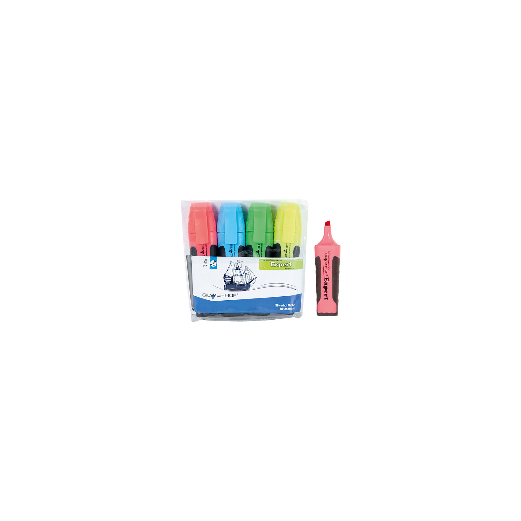 Текстовыделитель, набор 4цв, EXPERT, скошенный наконечник 1,0-5,0ммПисьменные принадлежности<br>Характеристики товара:<br><br>• материал: пластик<br>• комплектация: 4 шт желтый/зеленый/розовый/голубой<br>• скошенный наконечник 1,0-5,0 мм<br>• цветной колпачок с клипом<br>• прорезиненный корпус<br>• ПВХ упаковка<br>• страна бренда: Российская Федерация<br>• страна производства: Китай<br><br>Сделать работу для взрослого или учебу для ребенка интереснее и проще поможет этот набор цветных текстовыделитей! Ими не только гораздо веселее рисовать, чем обычным черным, такие текстовыделители помогут детям научиться выделять на разными цветами важные и второстепенные вещи, позволят делать яркие пометки, рисовать схемы и графики.<br>Текстовыделители качественно выполнены, сделаны из безопасных для детей материалов. Упаковка - удобная, в ней можно хранить текстовыделители. Письмо и рисование помогает детям лучше развить мелкую моторику, память, внимание, аккуратность и мышление.<br><br>Текстовыделитель, набор 4цв, EXPERT, скошенный наконечник 1,0-5,0мм, от бренда Silwerhof можно купить в нашем интернет-магазине.<br><br>Ширина мм: 110<br>Глубина мм: 110<br>Высота мм: 10<br>Вес г: 103<br>Возраст от месяцев: 36<br>Возраст до месяцев: 144<br>Пол: Унисекс<br>Возраст: Детский<br>SKU: 5020489