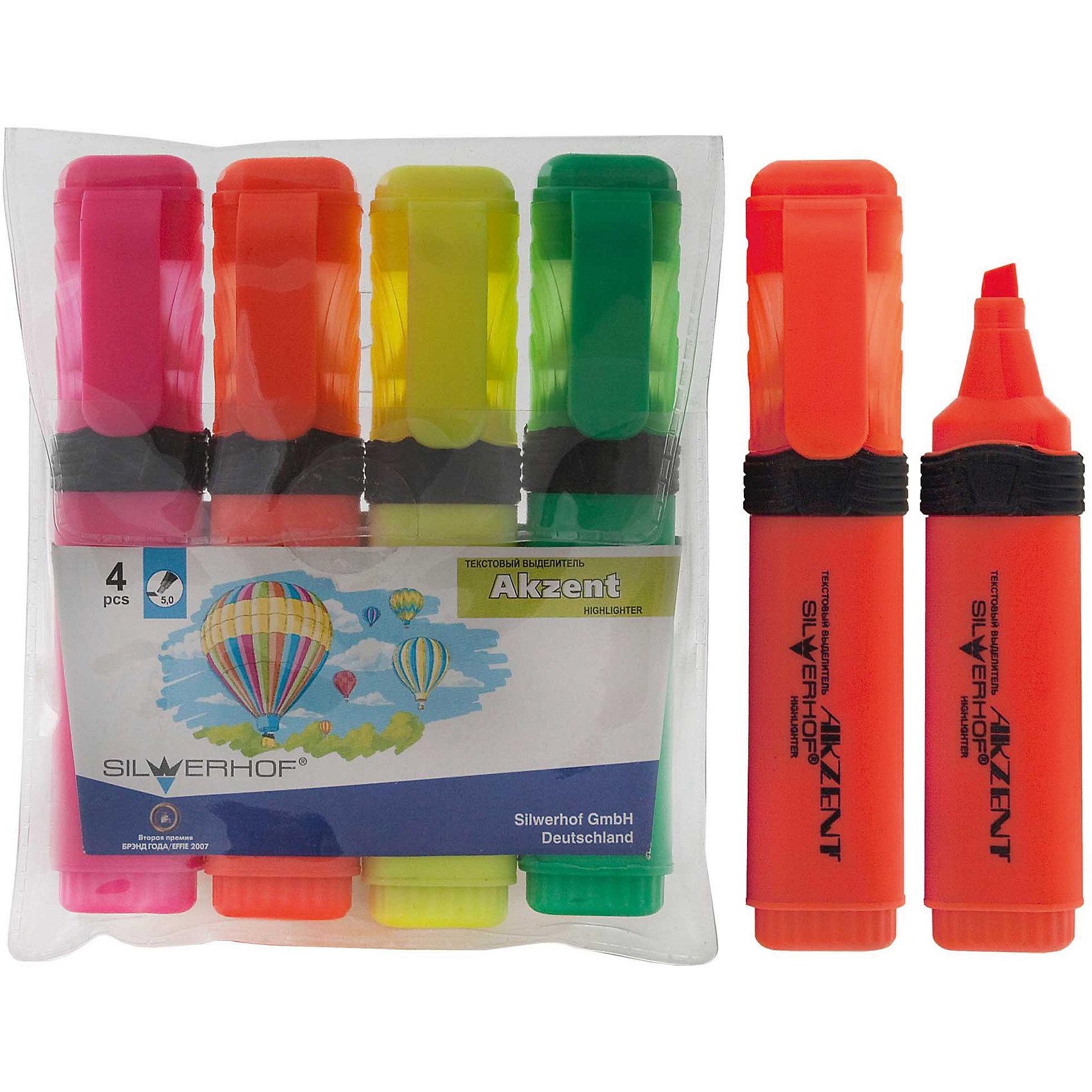 Текстовыделитель, набор 4цв, AKZENT, скошенный наконечникХарактеристики товара:<br><br>• материал: пластик<br>• комплектация: 4 шт желтый/зеленый/оранжевый/розовый<br>• скошенный наконечник 1,0-5,0 мм<br>• цветной колпачок с клипом<br>• прорезиненный корпус<br>• ПВХ упаковка<br>• страна бренда: Российская Федерация<br>• страна производства: Китай<br><br>Сделать работу для взрослого или учебу для ребенка интереснее и проще поможет этот набор цветных текстовыделитей! Ими не только гораздо веселее рисовать, чем обычным черным, такие текстовыделители помогут детям научиться выделять на разными цветами важные и второстепенные вещи, позволят делать яркие пометки, рисовать схемы и графики.<br>Текстовыделители качественно выполнены, сделаны из безопасных для детей материалов. Упаковка - удобная, в ней можно хранить текстовыделители. Письмо и рисование помогает детям лучше развить мелкую моторику, память, внимание, аккуратность и мышление.<br><br>Текстовыделитель, набор 4цв, EXPERT, скошенный наконечник, от бренда Silwerhof можно купить в нашем интернет-магазине.<br><br>Ширина мм: 120<br>Глубина мм: 100<br>Высота мм: 10<br>Вес г: 106<br>Возраст от месяцев: 36<br>Возраст до месяцев: 144<br>Пол: Унисекс<br>Возраст: Детский<br>SKU: 5020490