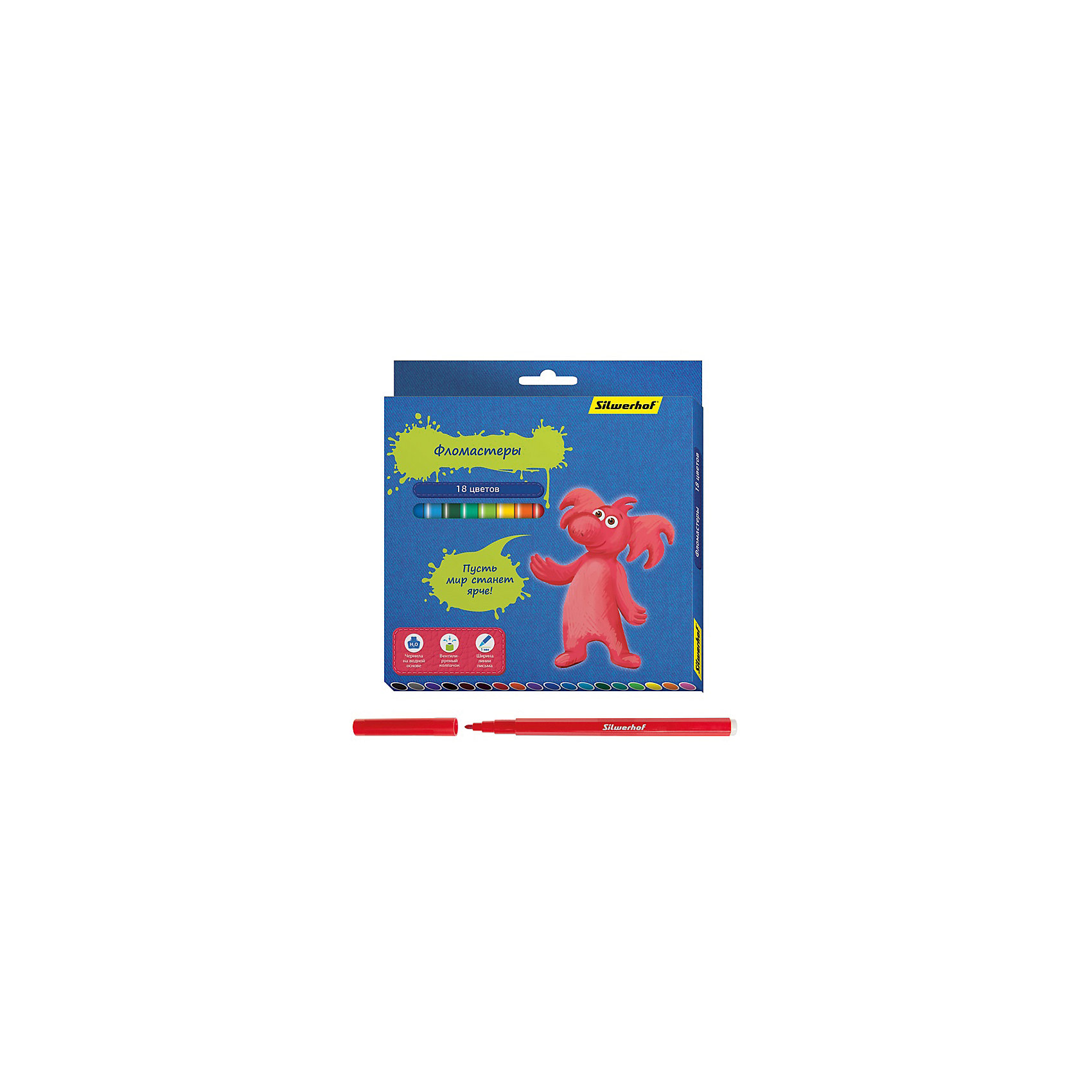Фломастеры, 18цв, ДЖИНСОВАЯ КОЛЛЕКЦИЯПисьменные принадлежности<br>Характеристики товара:<br><br>• материал: пластик<br>• комплектация: 18 шт<br>• вентилируемый колпачок<br>• упаковка: картонная коробка<br>• шестигранные<br>• размер фломастера: 9х153 мм<br>• страна бренда: Российская Федерация<br>• страна производства: Китай<br><br>Сделать творчество и учебу интереснее для ребенка поможет этот набор цветных фломастеров! Ими не только гораздо веселее рисовать, чем маленьким набором, такие фломастеры удобно хранить в картонной коробке. Они отличаются яркими цветами - ребенок будет в восторге!<br>Изделия качественно выполнены, сделаны из безопасных для детей материалов. Рисование помогает детям лучше развить мелкую моторику, память, внимание, аккуратность и мышление. Такой набор - отличный подарок ребенку!<br><br>Фломастеры, 18 цв, ДЖИНСОВАЯ КОЛЛЕКЦИЯ, от бренда Silwerhof можно купить в нашем интернет-магазине.<br><br>Ширина мм: 155<br>Глубина мм: 165<br>Высота мм: 10<br>Вес г: 115<br>Возраст от месяцев: 36<br>Возраст до месяцев: 144<br>Пол: Унисекс<br>Возраст: Детский<br>SKU: 5020508