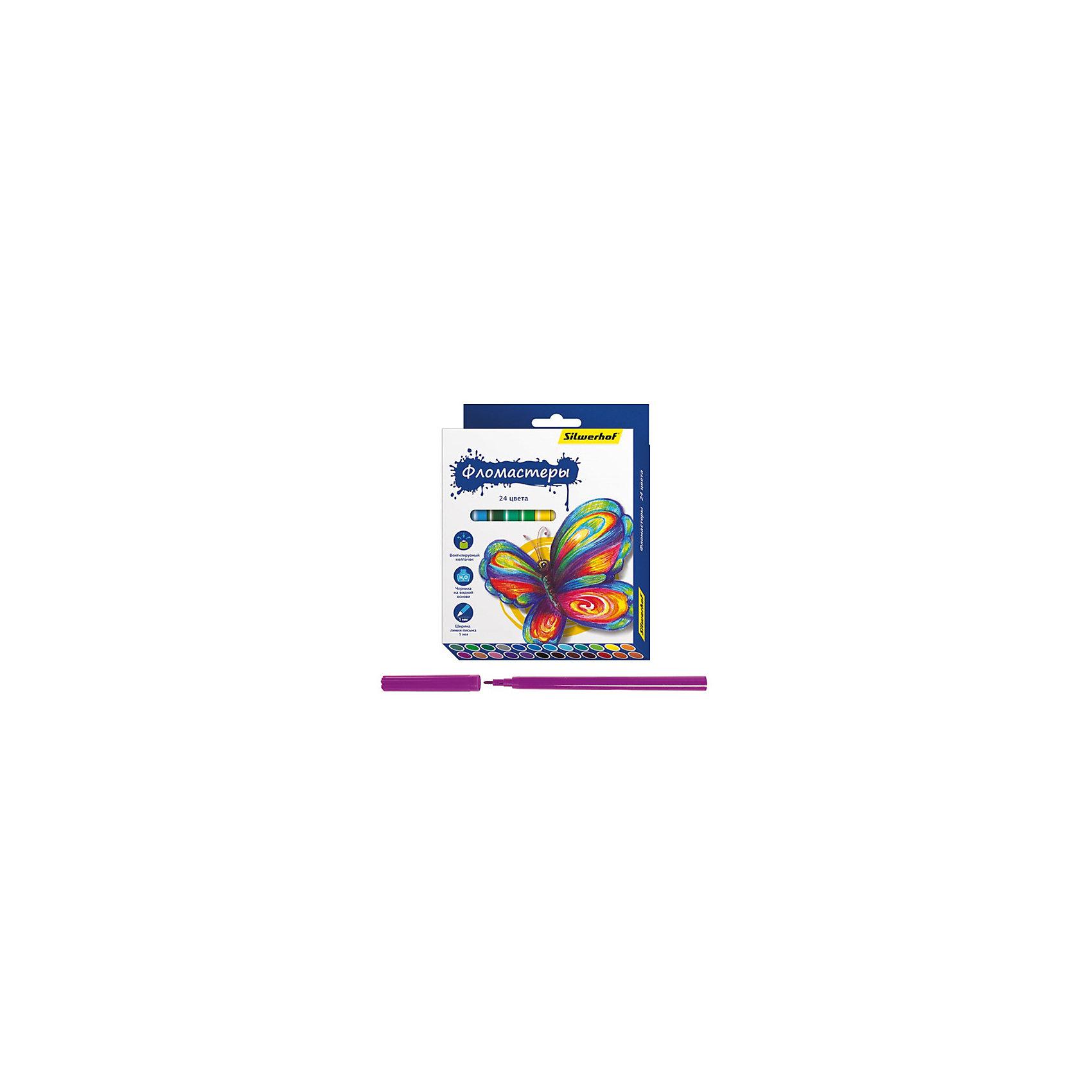 Фломастеры, 24цв, БАБОЧКИПисьменные принадлежности<br>Характеристики товара:<br><br>• материал: пластик<br>• комплектация: 24 шт<br>• вентилируемый колпачок<br>• упаковка: картонная коробка<br>• шестигранные<br>• размер фломастера: 9х153 мм<br>• страна бренда: Российская Федерация<br>• страна производства: Китай<br><br>Сделать творчество и учебу интереснее для ребенка поможет этот набор цветных фломастеров! Ими не только гораздо веселее рисовать, чем маленьким набором, такие фломастеры удобно хранить в картонной коробке. Они отличаются яркими цветами - ребенок будет в восторге!<br>Изделия качественно выполнены, сделаны из безопасных для детей материалов. Рисование помогает детям лучше развить мелкую моторику, память, внимание, аккуратность и мышление. Такой набор - отличный подарок ребенку!<br><br>Фломастеры, 24 цв, БАБОЧКИ, от бренда Silwerhof можно купить в нашем интернет-магазине.<br><br>Ширина мм: 155<br>Глубина мм: 115<br>Высота мм: 15<br>Вес г: 130<br>Возраст от месяцев: 36<br>Возраст до месяцев: 144<br>Пол: Унисекс<br>Возраст: Детский<br>SKU: 5020509