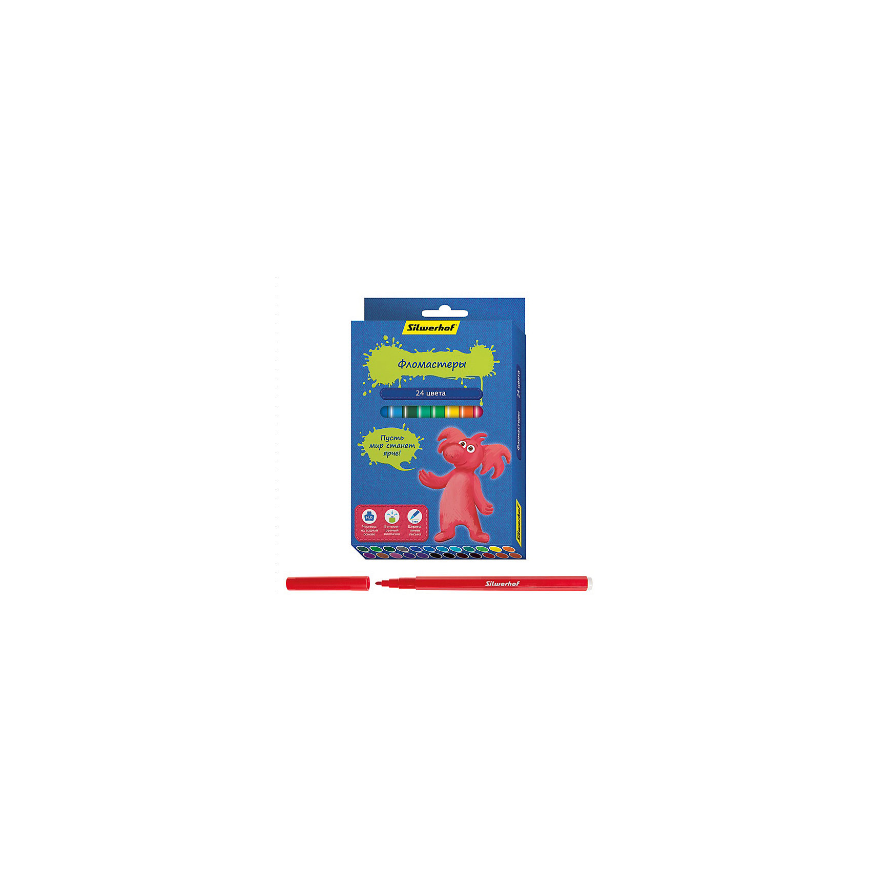 Фломастеры, 24цв, ДЖИНСОВАЯ КОЛЛЕКЦИЯПисьменные принадлежности<br>Характеристики товара:<br><br>• материал: пластик<br>• комплектация: 24 шт<br>• вентилируемый колпачок<br>• упаковка: картонная коробка<br>• круглые<br>• размер фломастера: 8х129 мм<br>• страна бренда: Российская Федерация<br>• страна производства: Китай<br><br>Сделать творчество и учебу интереснее для ребенка поможет этот набор цветных фломастеров! Ими не только гораздо веселее рисовать, чем маленьким набором, такие фломастеры удобно хранить в картонной коробке. Они отличаются яркими цветами - ребенок будет в восторге!<br>Изделия качественно выполнены, сделаны из безопасных для детей материалов. Рисование помогает детям лучше развить мелкую моторику, память, внимание, аккуратность и мышление. Такой набор - отличный подарок ребенку!<br><br>Фломастеры, 24 цв, ДЖИНСОВАЯ КОЛЛЕКЦИЯ, от бренда Silwerhof можно купить в нашем интернет-магазине.<br><br>Ширина мм: 155<br>Глубина мм: 110<br>Высота мм: 20<br>Вес г: 139<br>Возраст от месяцев: 36<br>Возраст до месяцев: 144<br>Пол: Унисекс<br>Возраст: Детский<br>SKU: 5020510