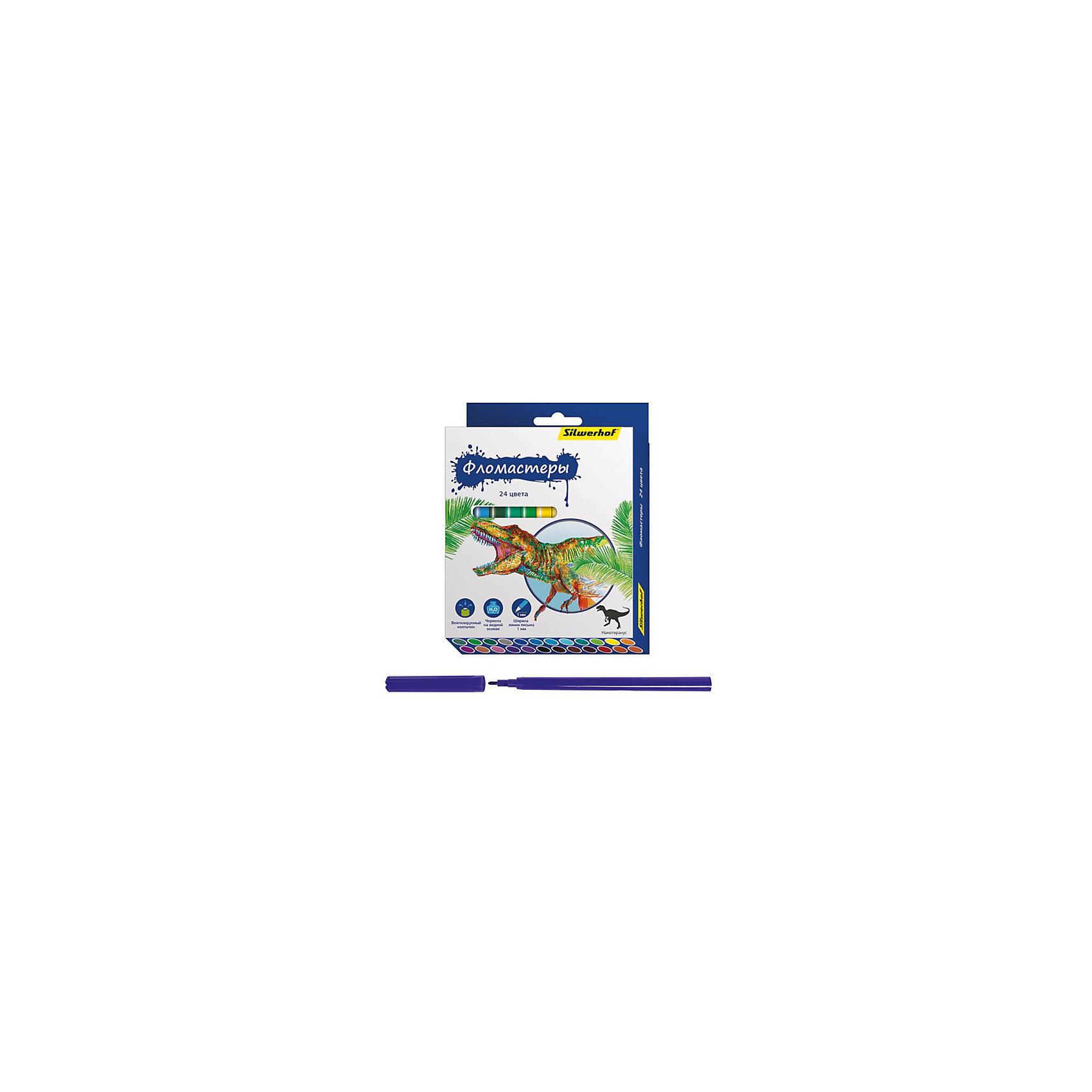 Silwerhof Фломастеры, 24цв, ДИНОЗАВРЫ фломастеры mattel фломастеры 24 цвета ever after high фиолетовые картонная упаковка