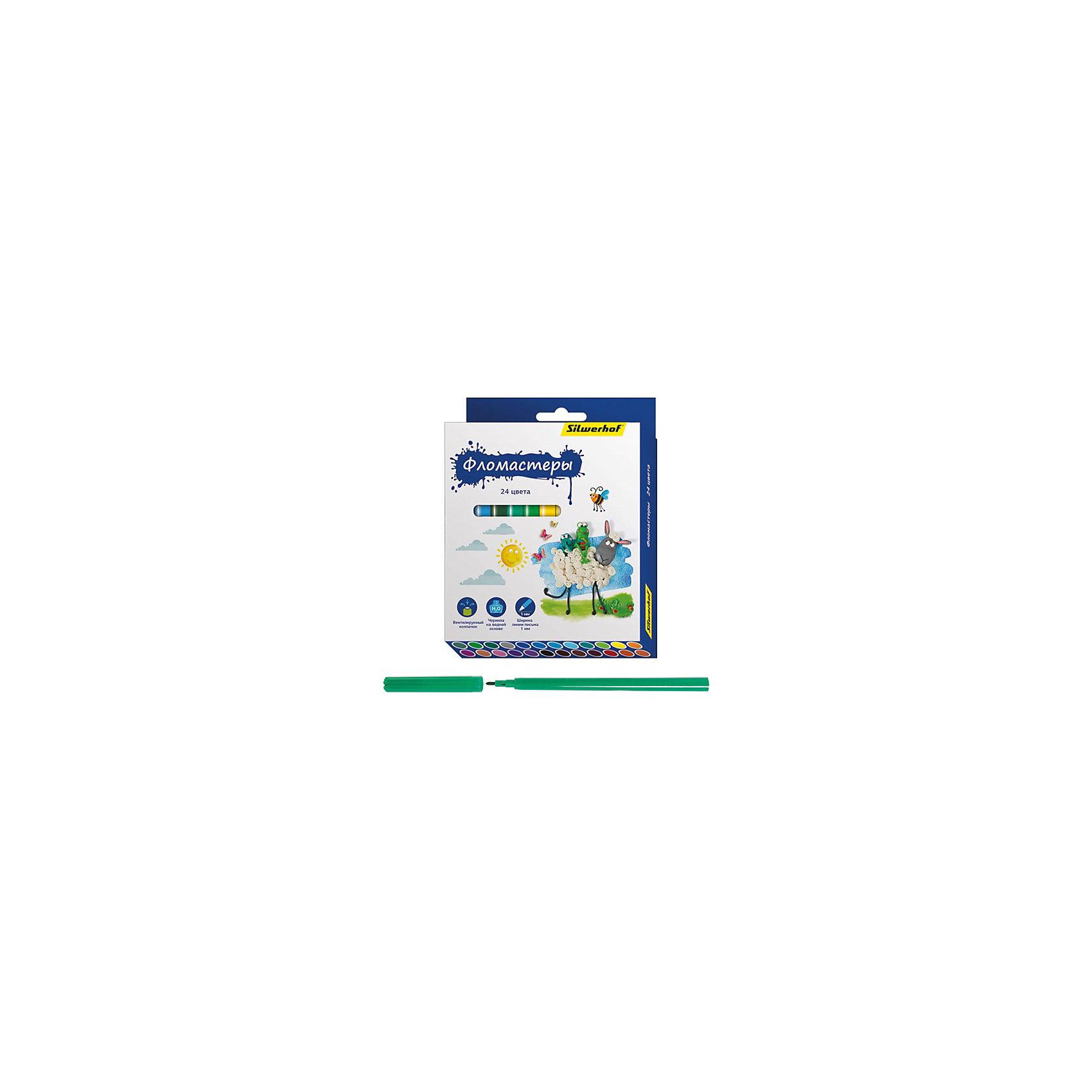 Silwerhof Фломастеры, 24цв, ПЛАСТИЛИНОВАЯ КОЛЛЕКЦИЯ silwerhof пастель масляная джинсовая коллекция набор из 24цв