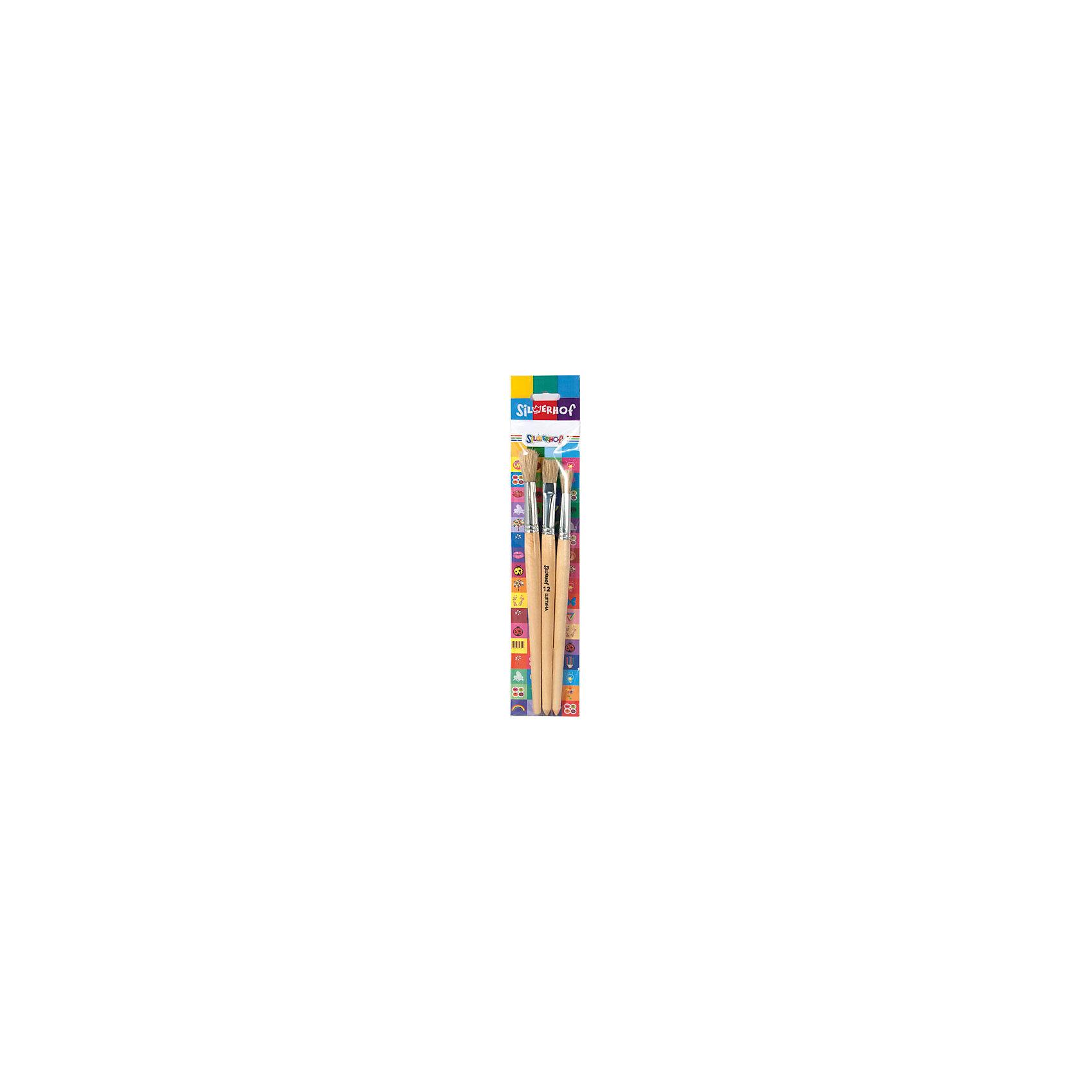 Набор кистей, 3шт, EMOTIONS, щетинаХарактеристики товара:<br><br>• материал: дерево, щетина<br>• комплектация: 3 шт<br>• щетина круглые, №7,10, щетина плоская №12<br>• деревянная лакированная ручка<br>• упаковка: картонная подложка, пластиковый пакет <br>• страна бренда: Российская Федерация<br>• страна производства: Китай<br><br>Сделать творчество и учебу интереснее для ребенка поможет этот набор кисточек! С помощью него удобно рисовать, в комплект входят кисти разного размера, они отличаются отлично подходящей для рисования щетиной.<br>Изделия качественно выполнены, сделаны из безопасных для детей материалов. Рисование помогает детям лучше развить мелкую моторику, память, внимание, аккуратность и мышление. Такой набор - отличный подарок творческому ребенку!<br><br>Набор кистей, 3шт, EMOTIONS, щетина, от бренда Silwerhof можно купить в нашем интернет-магазине.<br><br>Ширина мм: 10<br>Глубина мм: 60<br>Высота мм: 310<br>Вес г: 40<br>Возраст от месяцев: 36<br>Возраст до месяцев: 144<br>Пол: Унисекс<br>Возраст: Детский<br>SKU: 5020533