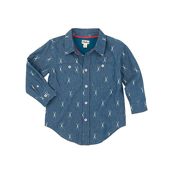 Рубашка для мальчика HatleyБлузки и рубашки<br>Рубашка для мальчика Hatley<br><br>Характеристики: <br><br>• Состав: 100% хлопок<br>• Цвет: синий<br><br>Классическая синяя рубашка на пуговичках сделает маленького модника стильным джентльменом. Натуральная ткань не дает ребенку вспотеть и не вызывает раздражения. Модный принт и джинсовый синий цвет не оставит равнодушным никого. На груди два кармана с пуговичками. Рукава застегиваются на две пуговки. <br><br>Рубашка для мальчика Hatley можно купить в нашем интернет-магазине.<br>Ширина мм: 174; Глубина мм: 10; Высота мм: 169; Вес г: 157; Цвет: темно-синий; Возраст от месяцев: 48; Возраст до месяцев: 60; Пол: Мужской; Возраст: Детский; Размер: 110,104,98,116; SKU: 5020870;