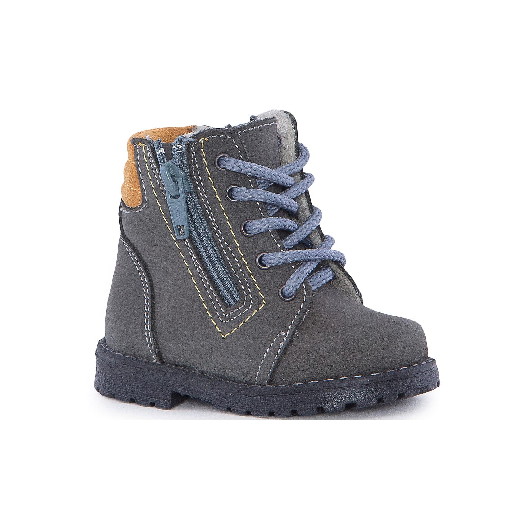 Ботинки для мальчика КотофейБотинки для мальчика Котофей.<br><br>Характеристики:<br><br>- Внешний материал: натуральная кожа<br>- Внутренний материал: байка<br>- Подошва: ТЭП<br>- Тип застежки: 2 молнии, шнуровка<br>- Вид крепления обуви: клеевой<br>- Температурный режим до -5С<br>- Цвет: серый, желтый<br>- Сезон: весна, осень<br>- Пол: для мальчиков<br><br>Ботинки для мальчика торговой марки Котофей - отличный выбор для межсезонья. Модель выполнена из натуральной кожи с гидрофобной пропиткой, обладающей водоотталкивающим эффектом. Подкладка – байка с 80% -ным содержанием шерсти. Удобная застежка - две молнии обеспечивает идеальную раскрываемость модели и позволяет легко обувать и снимать ботинки, а функциональная шнуровка обеспечит идеальную фиксацию обуви на стопе. Контрастный мягкий манжет из велюра создает комфорт при ходьбе и предотвращает натирание ножки ребенка. Прочная подошва с небольшим каблуком не позволит проникнуть холоду внутрь обуви. Детская обувь «Котофей» качественна, красива, добротна, комфортна и долговечна. Она производится на Егорьевской обувной фабрике. Жесткий контроль производства и постоянное совершенствование технологий при многолетнем опыте позволяют считать компанию одним из лидеров среди отечественных производителей детской обуви.<br><br>Ботинки для мальчика Котофей можно купить в нашем интернет-магазине.<br><br>Ширина мм: 262<br>Глубина мм: 176<br>Высота мм: 97<br>Вес г: 427<br>Цвет: серый/желтый<br>Возраст от месяцев: 9<br>Возраст до месяцев: 12<br>Пол: Мужской<br>Возраст: Детский<br>Размер: 20,24,23,22,21<br>SKU: 5023908