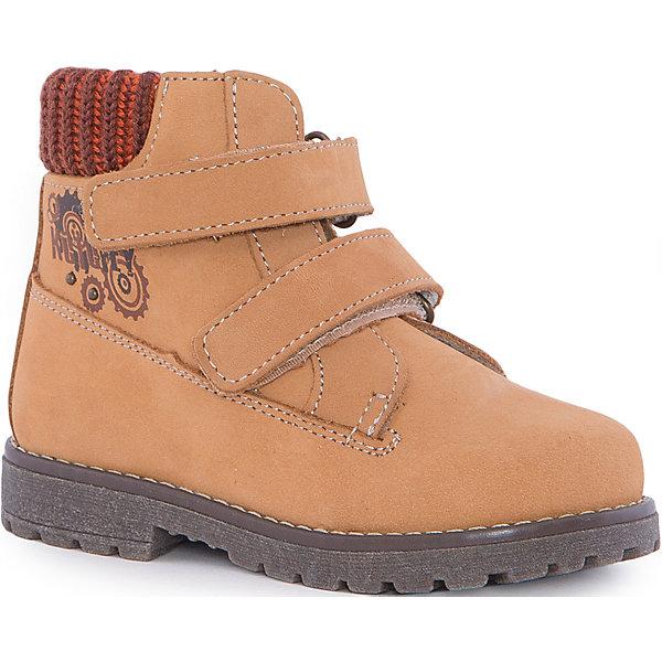 Ботинки для мальчика КотофейБотинки<br>Ботинки для мальчика Котофей.<br><br>Характеристики:<br><br>- Внешний материал: натуральная кожа<br>- Внутренний материал: байка<br>- Стелька: войлок<br>- Подошва: ТЭП<br>- Тип застежки: липучки<br>- Вид крепления обуви: клеевой<br>- Температурный режим до -10С<br>- Цвет: желтый<br>- Сезон: весна, осень<br>- Пол: для мальчиков<br><br>Стильные ботинки для мальчика торговой марки Котофей - отличный выбор для межсезонья. Верх модели выполнен полностью из дышащей натуральной кожи (нубук) с гидрофобными свойствами. Подкладка – утеплённая, из полушерстяной байки. Дополнительную защиту от прохлады даёт войлочная стелька, которую можно вытащить для просушки, воспользовавшись специальной петлёй. Сверху модели имеется мягкий трикотажный манжет, обеспечивающий удобство при ходьбе и предотвращающий натирание ноги. Гибкая, широкая, клеевая подошва с рельефным протектором обеспечит превосходное сцепление с поверхностью. Она выполнена из термоэластопласта (ТЭП) – пластичного материала, отлично амортизирующего при шаге и не теряющего своих свойств при понижении температур. Два ремня с липучкой позволяют не только быстро обувать и снимать обувь, но и обеспечивают плотное прилегание обуви к стопе. Дизайн соответствует и европейским, и отечественным тенденциям моды. Детская обувь «Котофей» качественна, красива, добротна, комфортна и долговечна. Она производится на Егорьевской обувной фабрике. Жесткий контроль производства и постоянное совершенствование технологий при многолетнем опыте позволяют считать компанию одним из лидеров среди отечественных производителей детской обуви.<br><br>Ботинки для мальчика Котофей можно купить в нашем интернет-магазине.<br><br>Ширина мм: 262<br>Глубина мм: 176<br>Высота мм: 97<br>Вес г: 427<br>Цвет: желтый<br>Возраст от месяцев: 12<br>Возраст до месяцев: 15<br>Пол: Мужской<br>Возраст: Детский<br>Размер: 21,20,24,23,22<br>SKU: 5023942