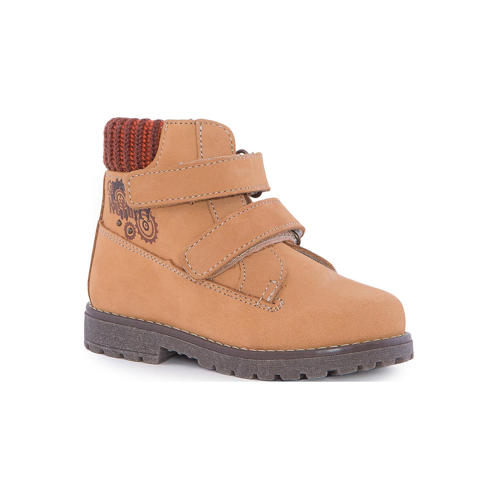 Ботинки для мальчика КотофейБотинки для мальчика Котофей.<br><br>Характеристики:<br><br>- Внешний материал: натуральная кожа<br>- Внутренний материал: байка<br>- Стелька: войлок<br>- Подошва: ТЭП<br>- Тип застежки: липучки<br>- Вид крепления обуви: клеевой<br>- Температурный режим до -10С<br>- Цвет: желтый<br>- Сезон: весна, осень<br>- Пол: для мальчиков<br><br>Стильные ботинки для мальчика торговой марки Котофей - отличный выбор для межсезонья. Верх модели выполнен полностью из дышащей натуральной кожи (нубук) с гидрофобными свойствами. Подкладка – утеплённая, из полушерстяной байки. Дополнительную защиту от прохлады даёт войлочная стелька, которую можно вытащить для просушки, воспользовавшись специальной петлёй. Сверху модели имеется мягкий трикотажный манжет, обеспечивающий удобство при ходьбе и предотвращающий натирание ноги. Гибкая, широкая, клеевая подошва с рельефным протектором обеспечит превосходное сцепление с поверхностью. Она выполнена из термоэластопласта (ТЭП) – пластичного материала, отлично амортизирующего при шаге и не теряющего своих свойств при понижении температур. Два ремня с липучкой позволяют не только быстро обувать и снимать обувь, но и обеспечивают плотное прилегание обуви к стопе. Дизайн соответствует и европейским, и отечественным тенденциям моды. Детская обувь «Котофей» качественна, красива, добротна, комфортна и долговечна. Она производится на Егорьевской обувной фабрике. Жесткий контроль производства и постоянное совершенствование технологий при многолетнем опыте позволяют считать компанию одним из лидеров среди отечественных производителей детской обуви.<br><br>Ботинки для мальчика Котофей можно купить в нашем интернет-магазине.<br><br>Ширина мм: 262<br>Глубина мм: 176<br>Высота мм: 97<br>Вес г: 427<br>Цвет: желтый<br>Возраст от месяцев: 9<br>Возраст до месяцев: 12<br>Пол: Мужской<br>Возраст: Детский<br>Размер: 20,24,23,22,21<br>SKU: 5023942