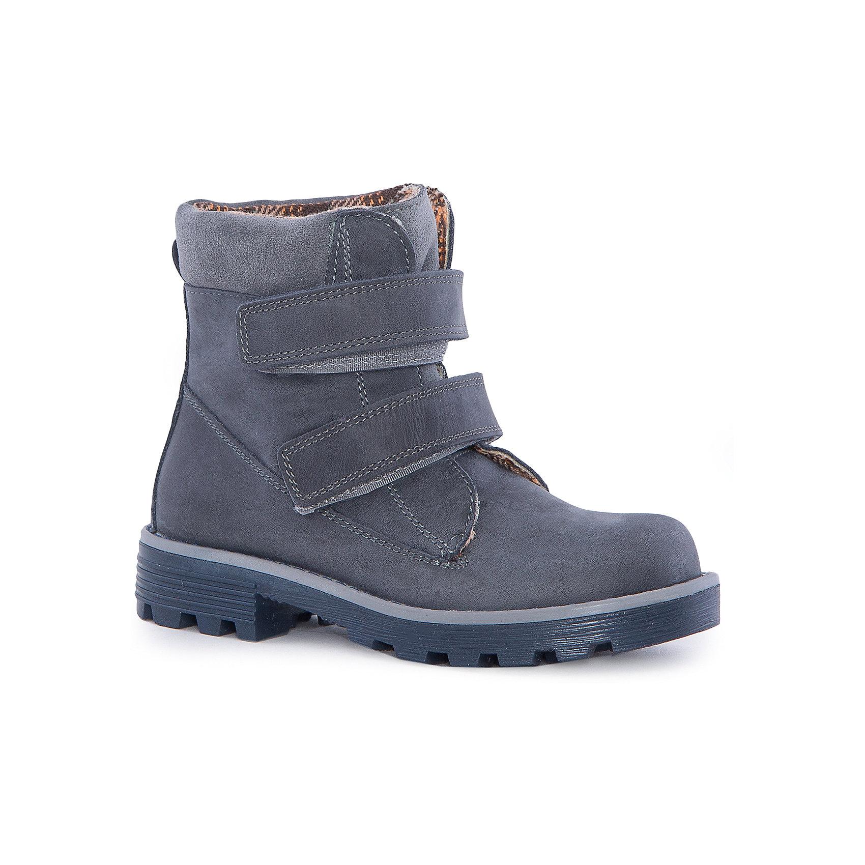 Ботинки для мальчика КотофейБотинки для мальчика Котофей.<br><br>Характеристики:<br><br>- Внешний материал: натуральная кожа<br>- Внутренний материал: байка<br>- Стелька: байка<br>- Подошва: ТЭП<br>- Тип застежки: липучки<br>- Вид крепления обуви: клеевой<br>- Температурный режим до -10С<br>- Цвет: синий<br>- Сезон: весна, осень<br>- Пол: для мальчиков<br><br>Стильные ботинки для мальчика торговой марки Котофей - идеальная обувь для межсезонья. Верх – дышащая натуральная кожа (натуральный бук) с гидрофобной пропиткой. Подкладка – утеплённая, из полушерстяной байки. Мягкий манжет из велюра создаёт комфорт при ходьбе и предотвращает натирание ножки ребенка. Подошва с каблучком выполнена из термоэластопласта – легкого, прочного материала, обладающего отличным амортизирующим эффектом и не теряющего своих свойств при понижении температур. Удобные застежки липучки надежно фиксируют обувь на стопе и позволяют обувать и снимать её легко и быстро. Дизайн ботинок соответствует последним европейским тенденциям и придаёт этой модели эффектный внешний вид. Детская обувь «Котофей» качественна, красива, добротна, комфортна и долговечна. Она производится на Егорьевской обувной фабрике. Жесткий контроль производства и постоянное совершенствование технологий при многолетнем опыте позволяют считать компанию одним из лидеров среди отечественных производителей детской обуви.<br><br>Ботинки для мальчика Котофей можно купить в нашем интернет-магазине.<br><br>Ширина мм: 262<br>Глубина мм: 176<br>Высота мм: 97<br>Вес г: 427<br>Цвет: синий<br>Возраст от месяцев: 84<br>Возраст до месяцев: 96<br>Пол: Мужской<br>Возраст: Детский<br>Размер: 31,32,33,34,35,30<br>SKU: 5023977