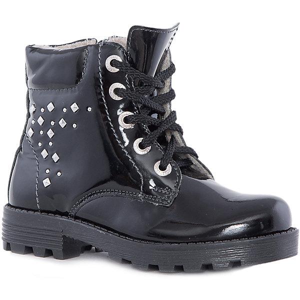 Ботинки для девочки КотофейБотинки<br>Ботинки для девочки Котофей.<br><br>Характеристики:<br><br>- Внешний материал: натуральная кожа<br>- Внутренний материал: байка<br>- Стелька: байка<br>- Подошва: ТЭП<br>- Тип застежки: молния, шнуровка<br>- Вид крепления обуви: клеевой<br>- Температурный режим до -10С<br>- Цвет: черный<br>- Сезон: весна, осень<br>- Пол: для девочек<br><br>Стильные ботинки для девочки торговой марки Котофей - идеальная обувь для межсезонья. Верх модели выполнен из лаковой натуральной кожи с гидрофобными свойствами. Подкладка – утеплённая, из полушерстяной байки. Мягкий манжет создаёт комфорт при ходьбе и предотвращает натирание ножки ребенка. Подошва с каблучком выполнена из термоэластопласта – легкого, прочного материала, обладающего отличным амортизирующим эффектом и не теряющего своих свойств при понижении температур. Застежки – комбинированные: имеются как шнурки, обеспечивающие идеальную фиксацию обуви на стопе, так и «молния» для более быстрого и лёгкого обувания и снимания. Дизайн ботинок соответствует последним европейским тенденциям и придаёт этой модели эффектный внешний вид. Детская обувь «Котофей» качественна, красива, добротна, комфортна и долговечна. Она производится на Егорьевской обувной фабрике. Жесткий контроль производства и постоянное совершенствование технологий при многолетнем опыте позволяют считать компанию одним из лидеров среди отечественных производителей детской обуви.<br><br>Ботинки для девочки Котофей можно купить в нашем интернет-магазине.<br>Ширина мм: 262; Глубина мм: 176; Высота мм: 97; Вес г: 427; Цвет: черный; Возраст от месяцев: 84; Возраст до месяцев: 96; Пол: Женский; Возраст: Детский; Размер: 31,30,33,32,35,34; SKU: 5023984;