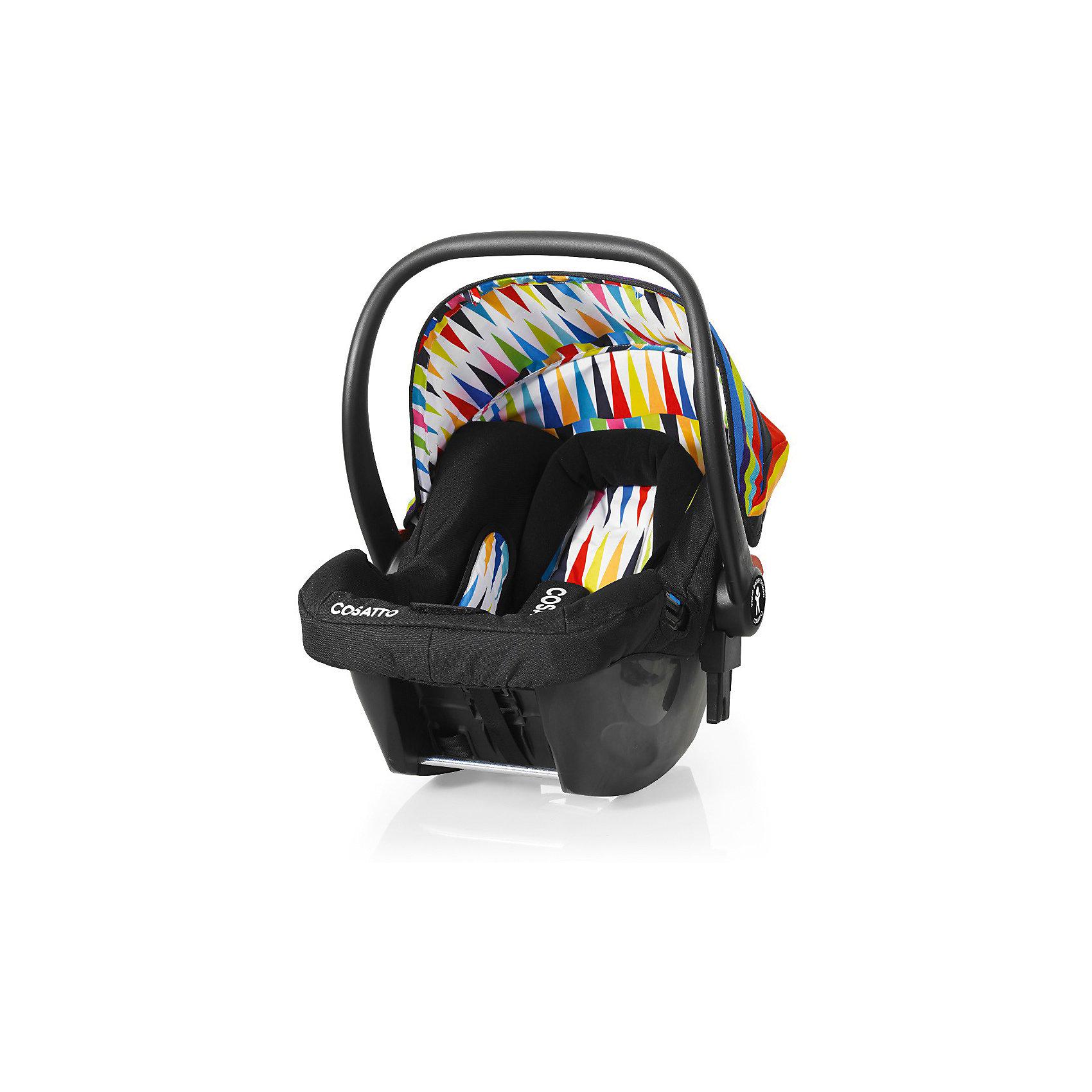 Автокресло Cosatto Hold 0-13 кг, Go BrightlyГруппа 0+ (До 13 кг)<br>Характеристики автокресла Hold Cosatto:<br><br>• группа 0+;<br>• вес ребенка: до 13 кг;<br>• возраст ребенка: от рождения до 12 месяцев;<br>• способ установки: против хода движения автомобиля;<br>• способ крепления: штатными ремнями безопасности автомобиля;<br>• есть возможность установить автокресло на базу с системой крепления Isofix - база приобретается отдельно;<br>• 5-ти точечные ремни безопасности с мягкими накладками;<br>• регулируемый защитный капор;<br>• анатомический вкладыш для новорожденного;<br>• в комплекте с автокреслом идет дождевик;<br>• пластиковая ручка, автолюлька используется как переноска, положение ручки меняется;<br>• автокресло можно использовать как кресло-качалку;<br>• чтобы зафиксировать кресло, необходимо изменить положение ручки и создать упор в пол;<br>• съемные чехлы, стирка при температуре 30 градусов;<br>• материал: пластик, полиэстер;<br>• стандарт безопасности: ЕСЕ R44/03.<br><br>Размер автокресла, ДхШхВ: 70х44х60 см<br>Вес автокресла: 4,2 кг<br><br>Автокресло Hold Cosatto устанавливается как против хода движения автомобиля на заднем сиденье. Глубокая чаша просторная, малышу удобно находится в кресле даже в теплом комбинезоне. Анатомический вкладыш с подголовником снимается. Автокресло соответствует европейским стандартам безопасности. Авктокресло можно установить на раму коляски Cosatto. Адаптеры для установки автокресла на шасси коляски входят в комплект.<br><br>Автокресло 0-13 кг., HOLD, COSATTO можно купить в нашем интернет-магазине.<br><br>Ширина мм: 740<br>Глубина мм: 440<br>Высота мм: 380<br>Вес г: 6000<br>Возраст от месяцев: 0<br>Возраст до месяцев: 12<br>Пол: Унисекс<br>Возраст: Детский<br>SKU: 5025707