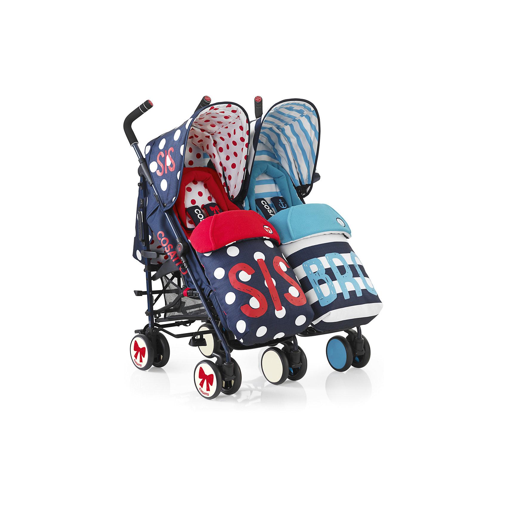 Прогулочная коляска для двойни Supa Dupa Twin, Cosatto, Sis N Bro 4Модные коляски для близнецов – большая редкость. Стильная коляска станет для родителей не только незаменимой вещью, но и стильным аксессуаром. Функциональность, дизайн и маневренность – все это – новая модель от Cosatto. Все материалы, использованные при изготовлении, безопасны и отвечают требованиям по качеству продукции.<br><br>Дополнительные характеристики: <br><br>цвет: Sis N Bro 4;<br>возраст: 6 месяцев – 3 года;<br>регулируемый капюшон;<br>механизм складывания: трость;<br>регулировка спинки;<br>ножной тормоз;<br>пятиточечные ремни безопасности;<br>габариты: 70 х 72 х 103 см;<br>материал шасси: алюминий;<br>материал блока: текстиль, пластик;<br>комплектация: блок для прогулок, складывающиеся шасси, корзина для хранения, подголовник, подстаканник, защита от дождя и солнца, регулируемая ручка, конверт - муфта.<br><br>Прогулочную коляску для двойни SUPA DUPA TWIN от компании Cosatto можно приобрести в нашем магазине.<br><br>Ширина мм: 1070<br>Глубина мм: 450<br>Высота мм: 300<br>Вес г: 19000<br>Возраст от месяцев: 6<br>Возраст до месяцев: 36<br>Пол: Унисекс<br>Возраст: Детский<br>SKU: 5025718