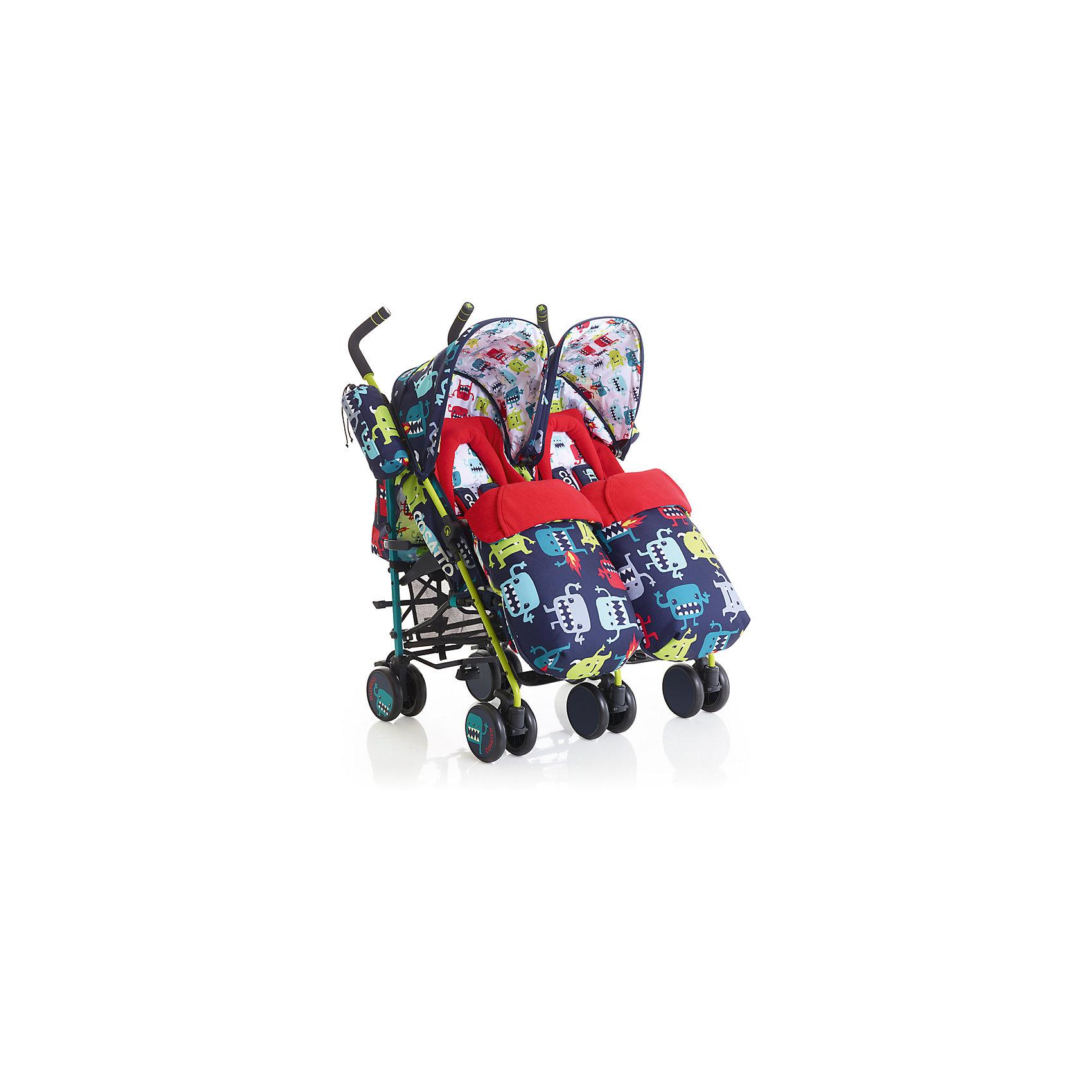 Прогулочная коляска для двойни Cosatto Supa Dupa Twin, Cuddle Monster 2Коляски для двойни<br>Модные коляски для близнецов – большая редкость. Стильная коляска станет для родителей не только незаменимой вещью, но и стильным аксессуаром. Функциональность, дизайн и маневренность – все это – новая модель от Cosatto. Все материалы, использованные при изготовлении, безопасны и отвечают требованиям по качеству продукции.<br><br>Дополнительные характеристики: <br><br>цвет: Cuddle Monster 2;<br>возраст: 6 месяцев – 3 года;<br>регулируемый капюшон;<br>механизм складывания: трость;<br>регулировка спинки;<br>ножной тормоз;<br>пятиточечные ремни безопасности;<br>габариты: 70 х 72 х 103 см;<br>материал шасси: алюминий;<br>материал блока: текстиль, пластик;<br>комплектация: блок для прогулок, складывающиеся шасси, корзина для хранения, подголовник, подстаканник, защита от дождя и солнца, регулируемая ручка, конверт - муфта.<br><br>Прогулочную коляску для двойни SUPA DUPA TWIN от компании Cosatto можно приобрести в нашем магазине.<br><br>Ширина мм: 1070<br>Глубина мм: 450<br>Высота мм: 300<br>Вес г: 19000<br>Возраст от месяцев: 6<br>Возраст до месяцев: 36<br>Пол: Унисекс<br>Возраст: Детский<br>SKU: 5025719