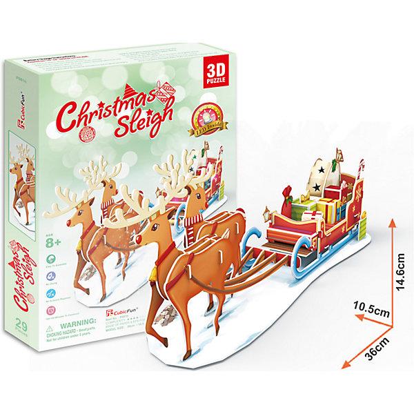 Пазл 3D Рождественские сани с подсветкой, CubicFun3D пазлы<br>Игрушка cubicFun Рождественские сани с подсветкой.                                                          Функции:<br>- помогает в развитии логики и творческих способностей ребенка;<br>- помогает в формировании мышления, речи, внимания, восприятия и воображения;<br>- развивает моторику рук;<br>- расширяет кругозор ребенка и стимулирует к познанию новой информации.<br>Практические характеристики:<br>- обучающая, яркая и реалистичная модель;<br>- идеально и легко собирается без инструментов;<br>- увлекательный игровой процесс;<br>- тематический ассортимент;<br>- новый качественный материал (ламинированный пенокартон).<br><br>Ширина мм: 40<br>Глубина мм: 295<br>Высота мм: 215<br>Вес г: 430<br>Возраст от месяцев: 84<br>Возраст до месяцев: 192<br>Пол: Унисекс<br>Возраст: Детский<br>SKU: 5025726