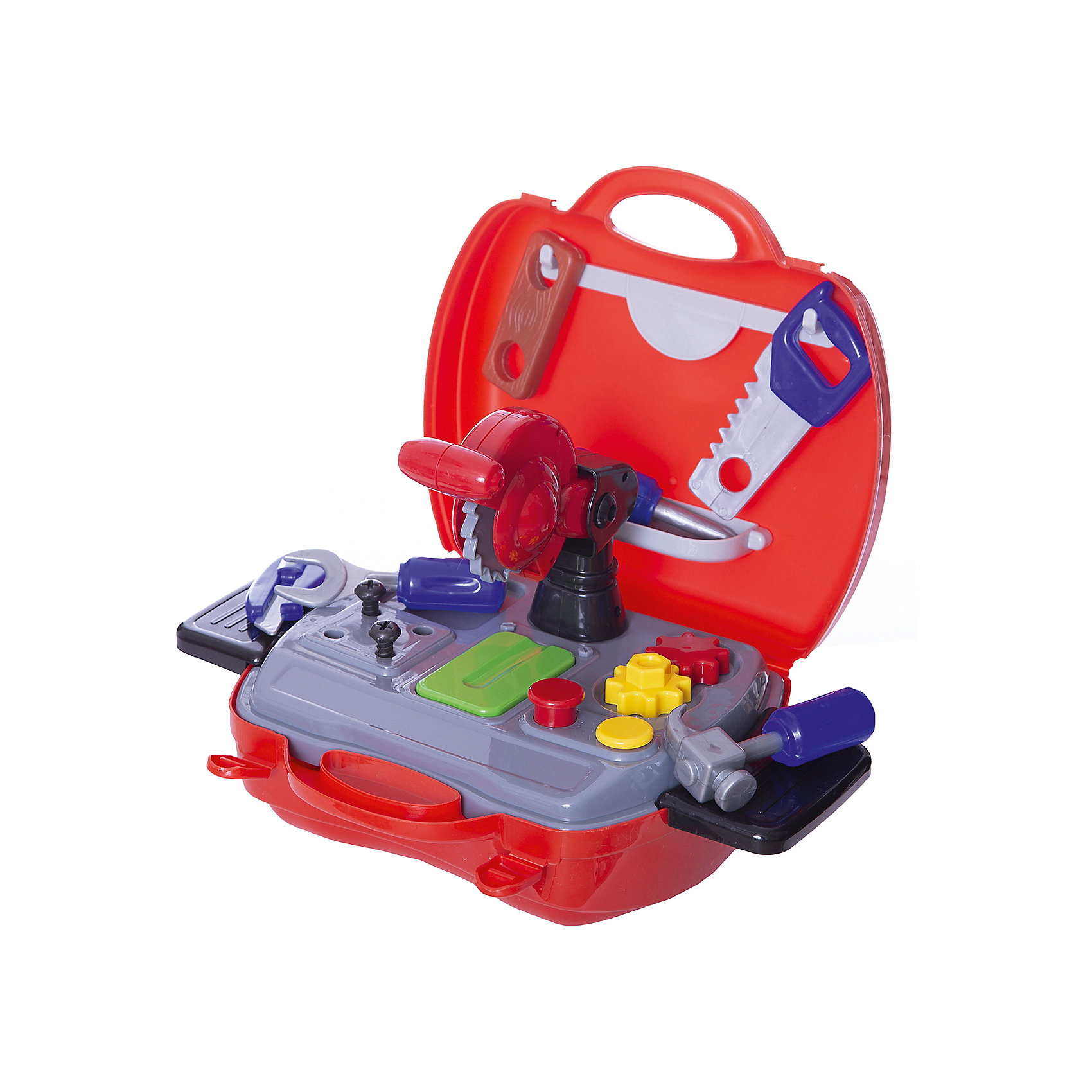 Набор инструментов Чудо-чемоданчик, 19 предм., ABtoysМастерская и инструменты<br>Набор инструментов Чудо-чемоданчик, 19 предм., ABtoys - игрушки , которые наверняка порадают каждого мальчика. <br>С такими игрушками мальчишки учатся правильно держать молоток, отвертку, стамеску и другие инструменты, ведь потом эти навыки им обязательно пригодятся во взрослой жизни . <br>Теперь малыш сможет помогать папе чинить или собирать что-нибудь со своим набором инструментов. <br>Каждый мальчишка будет рад такому подарку, а еще его удобно брать с собой на прогулку или в дорогу.<br><br>В наборе 19 предметов: <br>- чемоданчик разборный<br>- панель для хранения деталей<br>- отвертка<br>- молоток<br>- пила циркулярная<br>- нож<br>- гаечный ключ<br>- линейка <br>- брусок<br><br>Ширина мм: 200<br>Глубина мм: 240<br>Высота мм: 100<br>Вес г: 570<br>Возраст от месяцев: 36<br>Возраст до месяцев: 120<br>Пол: Мужской<br>Возраст: Детский<br>SKU: 5026129