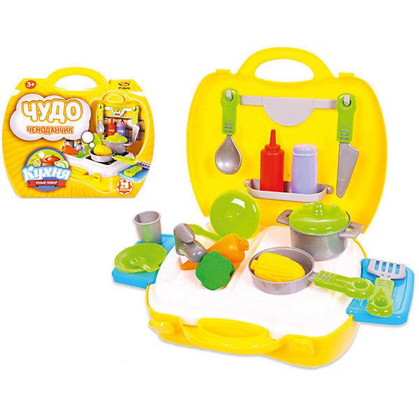 КухняЧудо-чемоданчик, 21 предм., ABtoysДетские кухни<br>КухняЧудо-чемоданчик, 21 предм., ABtoys подходит для сюжетно-ролевых игр. Он позволит ребенку почувствовать себя юным поваром. В его распоряжении будут21 предмет кухонной утвари, с помощью которых можно приготовить вкусные блюда своим куклам. Все детали изготовлены из прочного пластика и окрашены в яркие цвета.<br><br>Комплект: плита, мойка с краном, баночки со специями, овощи, столовая посуда и приборы, кухонная посуда, прочие кухонные принадлежности.<br>Из чего сделана игрушка (состав): пластик.<br>Размер упаковки: 22 x 22.5 x 9.8 см.<br>Упаковка: пластиковый чемодан, картон.<br><br>Ширина мм: 200<br>Глубина мм: 240<br>Высота мм: 100<br>Вес г: 480<br>Возраст от месяцев: 36<br>Возраст до месяцев: 120<br>Пол: Женский<br>Возраст: Детский<br>SKU: 5026130