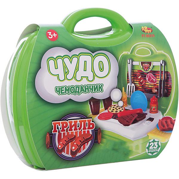 Гриль Чудо-чемоданчик, 23 предм., ABtoysИгрушечные продукты питания<br>Гриль Чудо-чемоданчик, 23 предм., ABtoys прекрасно разнообразит  игру ребенка.<br><br> В открывающемся чемоданчике ярко-зеленого цвета ребенок найдет все самые необходимые предметы для увлекательной игры в Барбекю - мангал, продукты, разделочную доску, посуду и столовые приборы. Игрушечные предметы выполнены с хорошей детализацией и копируют внешний вид настоящих атрибутов и продуктов, что сделает игру реалистичной.<br>Захватывающая игра с набором Гриль из серии Чудо-чемоданчик позволит ребенку ощутить себя настоящим поваром, который готовит для родных и друзей аппетитное барбекю.<br><br>Комплект: гриль, продукты для барбекю, посуда, столовые приборы, разделочная доска.<br>Из чего сделана игрушка (состав): пластик.<br>Размер упаковки: 20 x 24 x 10 см.<br>Упаковка: чемоданчик.<br>Количество предметов: 23.<br><br>Ширина мм: 200<br>Глубина мм: 240<br>Высота мм: 100<br>Вес г: 490<br>Возраст от месяцев: 36<br>Возраст до месяцев: 120<br>Пол: Унисекс<br>Возраст: Детский<br>SKU: 5026131