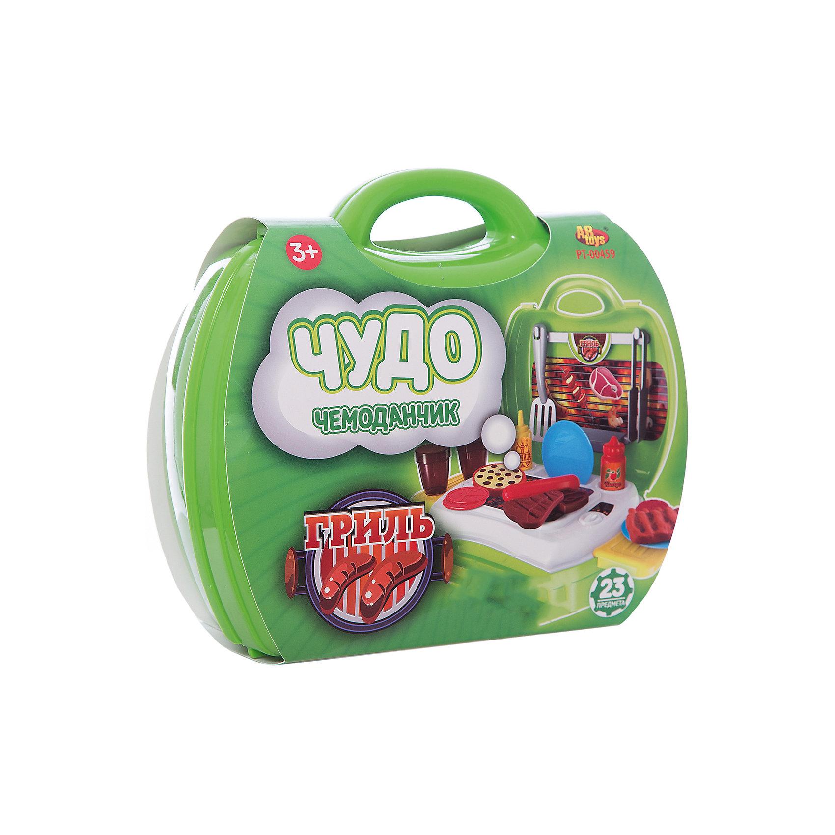 Гриль Чудо-чемоданчик, 23 предм., ABtoysГриль Чудо-чемоданчик, 23 предм., ABtoys прекрасно разнообразит  игру ребенка.<br><br> В открывающемся чемоданчике ярко-зеленого цвета ребенок найдет все самые необходимые предметы для увлекательной игры в Барбекю - мангал, продукты, разделочную доску, посуду и столовые приборы. Игрушечные предметы выполнены с хорошей детализацией и копируют внешний вид настоящих атрибутов и продуктов, что сделает игру реалистичной.<br>Захватывающая игра с набором Гриль из серии Чудо-чемоданчик позволит ребенку ощутить себя настоящим поваром, который готовит для родных и друзей аппетитное барбекю.<br><br>Комплект: гриль, продукты для барбекю, посуда, столовые приборы, разделочная доска.<br>Из чего сделана игрушка (состав): пластик.<br>Размер упаковки: 20 x 24 x 10 см.<br>Упаковка: чемоданчик.<br>Количество предметов: 23.<br><br>Ширина мм: 200<br>Глубина мм: 240<br>Высота мм: 100<br>Вес г: 490<br>Возраст от месяцев: 36<br>Возраст до месяцев: 120<br>Пол: Унисекс<br>Возраст: Детский<br>SKU: 5026131