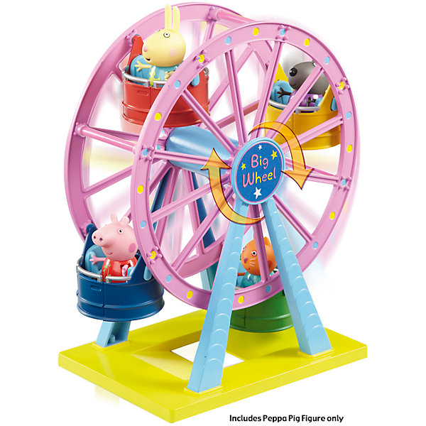 Игровой набор Колесо обозрения. Луна Парк, Свинка ПеппаИгровые наборы с фигурками<br>Это яркий игровой набор в комплекте со свинкой Пеппой и колесом обозрения. Колесо рассчитано на трех пассажиров, так что ребенок сможет посадить на свободные места двух своих самых любимых игрушек.<br><br>Дополнительная информация:<br><br>- Возраст: от 3 лет.<br>- Материал: пластик.<br>- В наборе: колесо обозрения, свинка Пеппа.<br>- Размер игровой площадки: 17.5х12.3 см.<br>- Размер упаковки: 28.5х14.4х29.7 см.<br>- Вес в упаковке: 550 г.<br><br>Купить игровой набор Колесо обозрения. Луна Парк, Свинка Пеппа, можно в нашем магазине.<br><br>Ширина мм: 285<br>Глубина мм: 144<br>Высота мм: 297<br>Вес г: 550<br>Возраст от месяцев: 36<br>Возраст до месяцев: 2147483647<br>Пол: Унисекс<br>Возраст: Детский<br>SKU: 5026864
