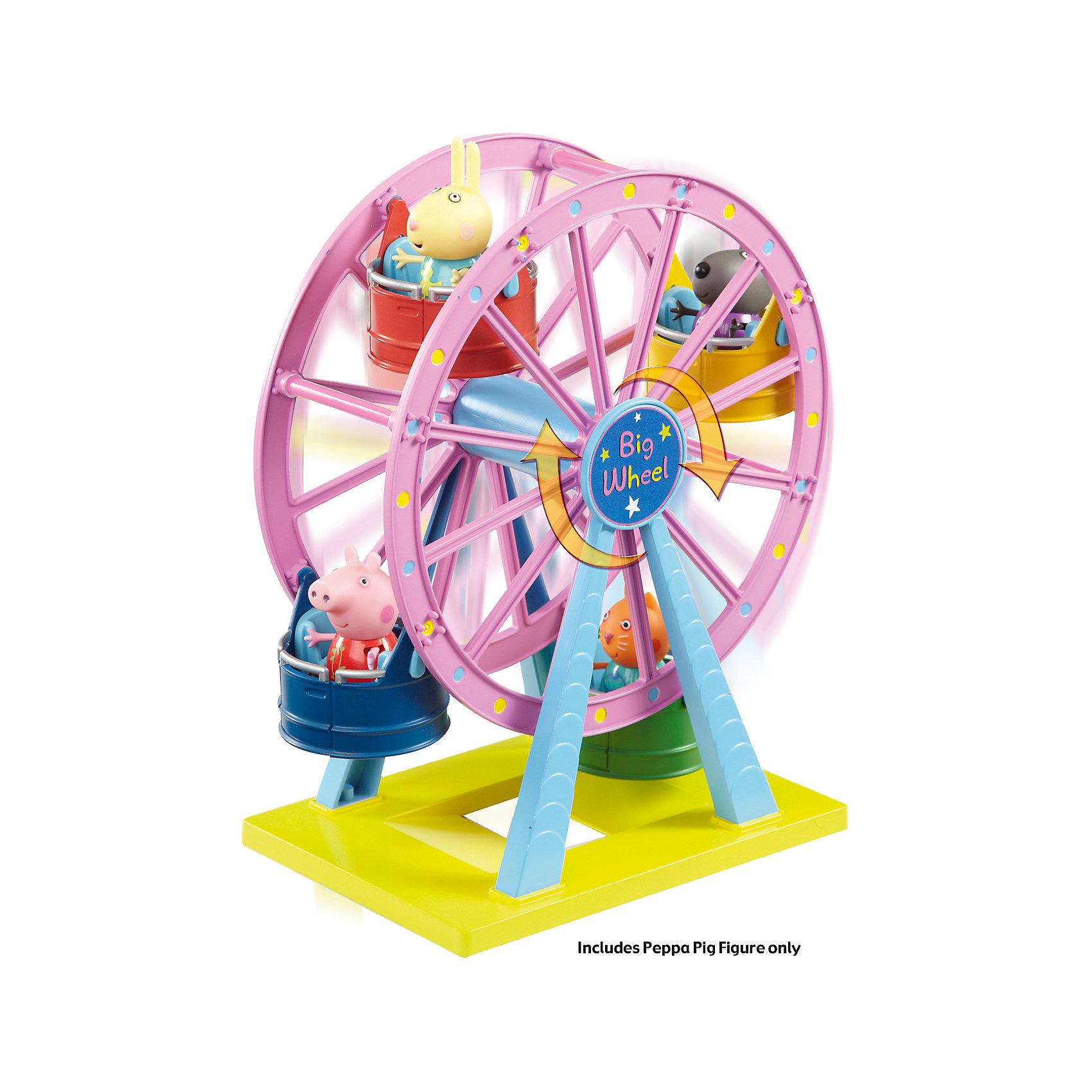 Игровой набор Колесо обозрения. Луна Парк, Свинка ПеппаСвинка Пеппа<br>Это яркий игровой набор в комплекте со свинкой Пеппой и колесом обозрения. Колесо рассчитано на трех пассажиров, так что ребенок сможет посадить на свободные места двух своих самых любимых игрушек.<br><br>Дополнительная информация:<br><br>- Возраст: от 3 лет.<br>- Материал: пластик.<br>- В наборе: колесо обозрения, свинка Пеппа.<br>- Размер игровой площадки: 17.5х12.3 см.<br>- Размер упаковки: 28.5х14.4х29.7 см.<br>- Вес в упаковке: 550 г.<br><br>Купить игровой набор Колесо обозрения. Луна Парк, Свинка Пеппа, можно в нашем магазине.<br><br>Ширина мм: 285<br>Глубина мм: 144<br>Высота мм: 297<br>Вес г: 550<br>Возраст от месяцев: 36<br>Возраст до месяцев: 2147483647<br>Пол: Унисекс<br>Возраст: Детский<br>SKU: 5026864