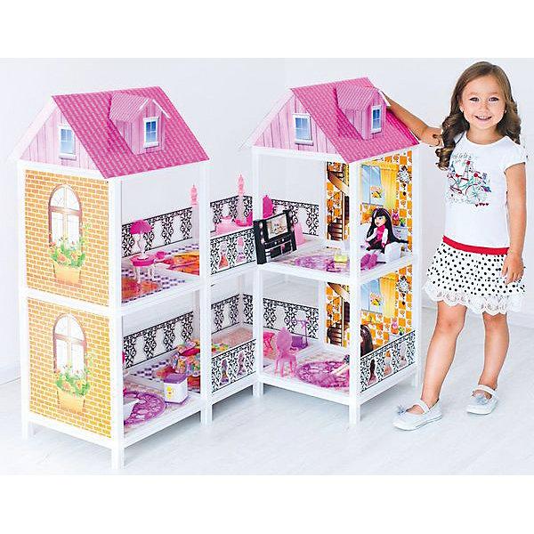 2-этажный кукольный дом (угловой, 4 комнаты, мебель, 2 куклы), PAREMOДомики для кукол<br>2-этажный кукольный дом (угловой, 4 комнаты, мебель, 2 куклы), PAREMO (Паремо).<br><br>Характеристики:<br><br>? Материал: пластик, картон, текстиль.<br>? Домик имеет открытую конструкцию<br>? 2 этажа, 4 комнаты, открытый балкон.<br>? Цвет: розовый, белый.<br>? Подходит для кукол высотой до 30 см. (Так называемый, Барби-формат).<br>? Конструкция продается в разобранном виде. Инструкция по сборке входит в комплект.<br>? Размер игрушки в собранном виде - 103х14х36 см.<br>? Размер упаковки - 83х44х12 см.<br>? Вес 12 кг. <br><br>В комплекте:<br><br>• 20 предметов мебели: диван, тумба под телевизор, телевизор, домашний кинотеатр, большой обеденный стол, 3 стула, круглая кровать, стол для торшера, торшер, кресло – качалка, унитаз, ванна, стиральная машина, раковина с зеркалом, ведро, уборочная тележка, гладильная доска, утюг.<br>• 2 куклы с аксессуарами.<br><br>2-этажный кукольный дом (угловой, 4 комнаты, мебель, 2 куклы), PAREMO (Паремо) –это игрушка- мечта от российского производителя. Очаровательный дом предназначен для сюжетно-ролевых игр («Семья», «Дочки- матери» и т. п.) Домик выполнен в нежных бело-розовых тонах с ярко- розовой крышей, имитирующей черепичную кладку. Внутренний декор поддерживает цветовое решение. Стены, пол, потолок декорированы под различные типы покрытий- плитка, обои, ковролин. В доме 2 этажа, 4 просторных комнаты. Юная леди, проявив фантазию, самостоятельно может расположить комнаты по своему вкусу. Игры с таким домиком помогают развить в девочке фантазию, творческие способности, поможет ребенку почувствовать себя взрослой и самостоятельной. Материалы, из которых изготовлен домик, полностью соответствуют российским стандартам безопасности. Ваша малышка будет счастлива, получить в подарок славный нарядный домик для своих любимых кукол!<br><br>2-этажный кукольный дом (угловой, 4 комнаты, мебель, 2 куклы), PAREMO, можно купить в нашем интернет – магазине.<br><b