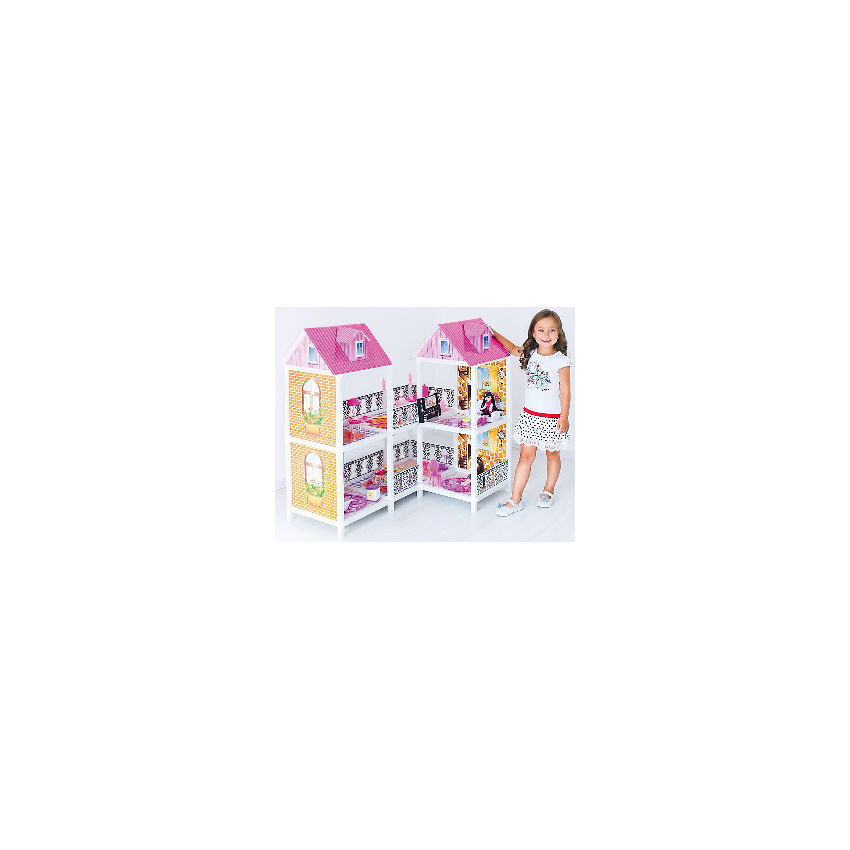2-этажный кукольный дом (угловой, 4 комнаты, мебель, 2 куклы), PAREMOИгрушечные домики и замки<br>2-этажный кукольный дом (угловой, 4 комнаты, мебель, 2 куклы), PAREMO (Паремо).<br><br>Характеристики:<br><br>? Материал: пластик, картон, текстиль.<br>? Домик имеет открытую конструкцию<br>? 2 этажа, 4 комнаты, открытый балкон.<br>? Цвет: розовый, белый.<br>? Подходит для кукол высотой до 30 см. (Так называемый, Барби-формат).<br>? Конструкция продается в разобранном виде. Инструкция по сборке входит в комплект.<br>? Размер игрушки в собранном виде - 103х14х36 см.<br>? Размер упаковки - 83х44х12 см.<br>? Вес 12 кг. <br><br>В комплекте:<br><br>• 20 предметов мебели: диван, тумба под телевизор, телевизор, домашний кинотеатр, большой обеденный стол, 3 стула, круглая кровать, стол для торшера, торшер, кресло – качалка, унитаз, ванна, стиральная машина, раковина с зеркалом, ведро, уборочная тележка, гладильная доска, утюг.<br>• 2 куклы с аксессуарами.<br><br>2-этажный кукольный дом (угловой, 4 комнаты, мебель, 2 куклы), PAREMO (Паремо) –это игрушка- мечта от российского производителя. Очаровательный дом предназначен для сюжетно-ролевых игр («Семья», «Дочки- матери» и т. п.) Домик выполнен в нежных бело-розовых тонах с ярко- розовой крышей, имитирующей черепичную кладку. Внутренний декор поддерживает цветовое решение. Стены, пол, потолок декорированы под различные типы покрытий- плитка, обои, ковролин. В доме 2 этажа, 4 просторных комнаты. Юная леди, проявив фантазию, самостоятельно может расположить комнаты по своему вкусу. Игры с таким домиком помогают развить в девочке фантазию, творческие способности, поможет ребенку почувствовать себя взрослой и самостоятельной. Материалы, из которых изготовлен домик, полностью соответствуют российским стандартам безопасности. Ваша малышка будет счастлива, получить в подарок славный нарядный домик для своих любимых кукол!<br><br>2-этажный кукольный дом (угловой, 4 комнаты, мебель, 2 куклы), PAREMO, можно купить в нашем интернет – магази
