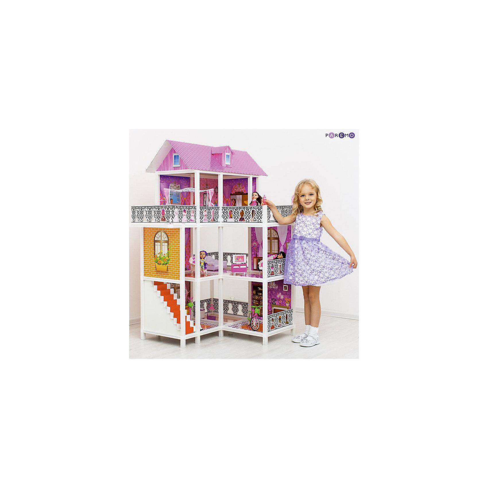 3-этажный кукольный дом (угловой, 6 комнат, мебель, 3 куклы, велосипед), PAREMO3-этажный кукольный дом (угловой, 6 комнат, мебель, 3 куклы, велосипед), PAREMO (Паремо).<br><br>Характеристики:<br><br>? Материал: пластик, картон.<br>? Дом частично открытый (задняя стенка глухая, лицевая часть полностью открыта).<br>? 3 этажа,6 просторных комнат, 2 балкона.<br>? Цвет: розовый, белый.<br>? Подходит для кукол высотой до 30 см. <br>? Конструкция продается в разобранном виде. Инструкция по сборке входит в комплект.<br>? Размер игрушки в собранном виде - 105х76х137 см.<br>? Размер упаковки - 95х16х36 см.<br>? Вес: 10кг.<br>В комплекте:<br>• 17 элементов мебели: тумба под телевизор, телевизор, видеомагнитофон, пульт от телевизора, большой обеденный стол, 3 стула, большая кровать с балдахином, стол для торшера, торшер, ванна, унитаз, стиральная машина, раковина с зеркалом, ведро, уборочная тележка;<br>• 3 куклы с аксессуарами;<br>• велосипед.<br><br>3-этажный кукольный дом (угловой, 6 комнат, мебель, 3 куклы, велосипед), PAREMO (Паремо) –это игрушка- мечта от российского производителя. Очаровательный дом предназначен для сюжетно-ролевых игр («Семья», «Дочки- матери» и т. п.) Домик выполнен в нежных бело-розовых тонах с ярко- розовой крышей, имитирующей черепичную кладку. Внутренний декор поддерживает цветовое решение. Стены, пол, потолок декорированы под различные типы покрытий - плитка, обои, ковролин. В доме 3 этажа, 6 просторных комнат. Юная леди, проявив фантазию, самостоятельно может расположить комнаты по своему вкусу. Игры с таким домиком помогают развить в девочке фантазию, творческие способности, поможет ребенку почувствовать себя взрослой и самостоятельной. Материалы, из которых изготовлен домик, полностью соответствуют российским стандартам безопасности. Ваша малышка будет счастлива, получить в подарок славный нарядный домик для своих любимых кукол!<br><br>3-этажный кукольный дом (угловой, 6 комнат, мебель, 3 куклы, велосипед), PAREMO, можно купить в нашем интернет