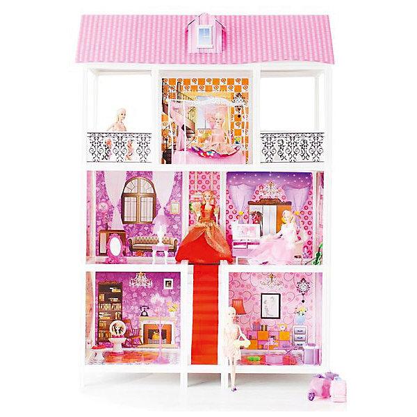 3-этажный кукольный дом (5 комнат, лестница, мебель, 5 кукол), PAREMOДомики для кукол<br>3-этажный кукольный дом (5 комнат, лестница, мебель, 5 кукол), PAREMO (Паремо).<br><br>Характеристики:<br><br>? Материал: пластик, картон.<br>? Дом частично открытый (задняя стенка глухая, лицевая часть полностью открыта).<br>? 3 этажа,5 просторных комнат, 2 балкона.<br>? Цвет: розовый, белый.<br>? Подходит для кукол высотой до 30 см. <br>? Конструкция продается в разобранном виде. Инструкция по сборке входит в комплект.<br>? Размер игрушки в собранном виде - 94х42х136 см.<br>? Размер упаковки - 96х13х36 см.<br>? Вес: 10кг.<br><br>В комплекте:<br><br>• 17 элементов мебели: тумба под телевизор, телевизор, видеомагнитофон, пульт от телевизора, большой обеденный стол, 3 стула, большая кровать с балдахином, стол для торшера, торшер, ванна, унитаз, стиральная машина, раковина с зеркалом, ведро, уборочная тележка. ;<br>• лестница;<br>• 5 кукол с аксессуарами;<br><br>3-этажный кукольный дом (5 комнат, лестница, мебель, 5 кукол), PAREMO (Паремо) –это игрушка- мечта от российского производителя. Очаровательный дом предназначен для сюжетно-ролевых игр («Семья», «Дочки- матери» и т. п.). Домик выполнен в нежных бело-розовых тонах с ярко- розовой крышей, имитирующей черепичную кладку. Внутренний декор поддерживает цветовое решение. Стены, пол, потолок декорированы под различные типы покрытий - плитка, обои, ковролин. В доме 3 этажа, 5 просторных комнат. На первом этаже гостиная и ванная комната. На втором этаже – зал. На третьем – спальня и 2 балкона. Между этажами куклы могут передвигаться по шикарной лестнице. Юная леди, проявив фантазию, самостоятельно может расположить комнаты по своему вкусу. Игры с таким домиком помогают развить в девочке фантазию, творческие способности, поможет ребенку почувствовать себя взрослой и самостоятельной. Материалы, из которых изготовлен домик, полностью соответствуют российским стандартам безопасности. Ваша малышка будет счастлива, получить в подарок слав
