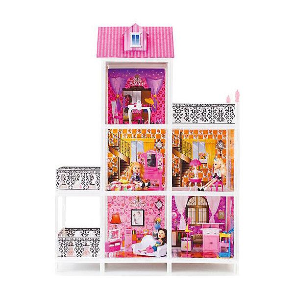 3-этажный кукольный дом (5 комнат, мебель, 3 куклы), PAREMOДомики для кукол<br>3-этажный кукольный дом (5 комнат, мебель, 3 куклы), PAREMO (Паремо).<br><br>Характеристики:<br><br>? Материал: пластик, картон.<br>? Дом частично открытый (задняя стенка глухая, лицевая часть полностью открыта).<br>? 3 этажа,5 просторных комнат, 3 балкона.<br>? Цвет: розовый, белый.<br>? Подходит для кукол высотой до 30 см. <br>? Конструкция продается в разобранном виде. Инструкция по сборке входит в комплект.<br>? Размер игрушки в собранном виде - 101х41х137 см.<br>? Размер упаковки - 85х14х36 см.<br>? Вес: 12 кг.<br><br>В комплекте:<br><br>• Мебель: диван, круглая кровать, тумба под телевизор, телевизор, видеомагнитофон, пульт от телевизора, обеденный стол, 4 стульчика, трюмо, столик для торшера, торшер, раковина, стиральная машина, вешалка, корзина для принадлежностей. <br>• 3 куклы с аксессуарами;<br><br>3-этажный кукольный дом (5 комнат, мебель, 3 куклы), PAREMO (Паремо) – это игрушка - мечта от российского производителя. Очаровательный дом предназначен для сюжетно-ролевых игр («Семья», «Дочки- матери» и т. п.). Домик выполнен в нежных бело-розовых тонах с ярко- розовой крышей, имитирующей черепичную кладку. Внутренний декор поддерживает цветовое решение. Стены, пол, потолок декорированы под различные типы покрытий - плитка, обои, ковролин. В доме 3 этажа, 5 просторных комнат, 3 балкона с коваными перилами. Юная леди, проявив фантазию, самостоятельно может расположить комнаты по своему вкусу. Игры с таким домиком помогают развить в девочке фантазию, творческие способности, поможет ребенку почувствовать себя взрослой и самостоятельной. Материалы, из которых изготовлен домик, полностью соответствуют российским стандартам безопасности. Ваша малышка будет счастлива, получить в подарок славный нарядный домик для своих любимых кукол!<br><br>3-этажный кукольный дом (5 комнат, мебель, 3 куклы), PAREMO (Паремо), можно купить в нашем интернет – магазине.<br><br>Ширина мм: 850<br>Глубина мм: 3