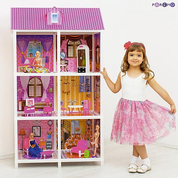 3-этажный кукольный дом (6 комнат, мебель, 3 куклы), PAREMOДомики для кукол<br>3-этажный кукольный дом (6 комнат, мебель, 3 куклы), PAREMO (Паремо).<br><br>Характеристики:<br><br>? Материал: пластик, картон.<br>? Дом частично открытый (задняя стенка глухая, лицевая часть полностью открыта).<br>? 3 этажа,6 просторных комнат.<br>? Цвет: розовый, белый.<br>? Подходит для кукол высотой до 30 см. <br>? Конструкция продается в разобранном виде. Инструкция по сборке входит в комплект.<br>? Размер игрушки в собранном виде - 84х42х136 см.<br>? Размер упаковки - 85х13х36 см.<br>? Вес: 12 кг.<br><br>В комплекте:<br><br>• Мебель: диван, кровать, тумба под телевизор, телевизор, обеденный стол, 4 стульчика, трюмо, столик для торшера, торшер, раковина, стиральная машина, вешалка, корзина для принадлежностей. <br>• 3 куклы с аксессуарами;<br><br>3-этажный кукольный дом (6 комнат, мебель, 3 куклы), PAREMO (Паремо) – это игрушка- мечта от российского производителя. Очаровательный дом предназначен для сюжетно-ролевых игр («Семья», «Дочки- матери» и т. п.). Домик выполнен в нежных бело-розовых тонах с ярко- розовой крышей, имитирующей черепичную кладку. Боковые стороны домика декорированы под кирпичную кладку. Внутренний декор поддерживает цветовое решение. Стены, пол, потолок декорированы под различные типы покрытий - плитка, обои, ковролин. В доме 3 этажа, 6 просторных комнат, 3 балкона с коваными перилами. Юная леди, проявив фантазию, самостоятельно может расположить комнаты по своему вкусу. Игры с таким домиком помогают развить в девочке фантазию, творческие способности, поможет ребенку почувствовать себя взрослой и самостоятельной. Материалы, из которых изготовлен домик, полностью соответствуют российским стандартам безопасности. Ваша малышка будет счастлива, получить в подарок славный нарядный домик для своих любимых кукол!<br><br>3-этажный кукольный дом (6 комнат, мебель, 3 куклы), PAREMO (Паремо), можно купить в нашем интернет – магазине.<br><br>Ширина мм: 850<br>Глубина мм: 36