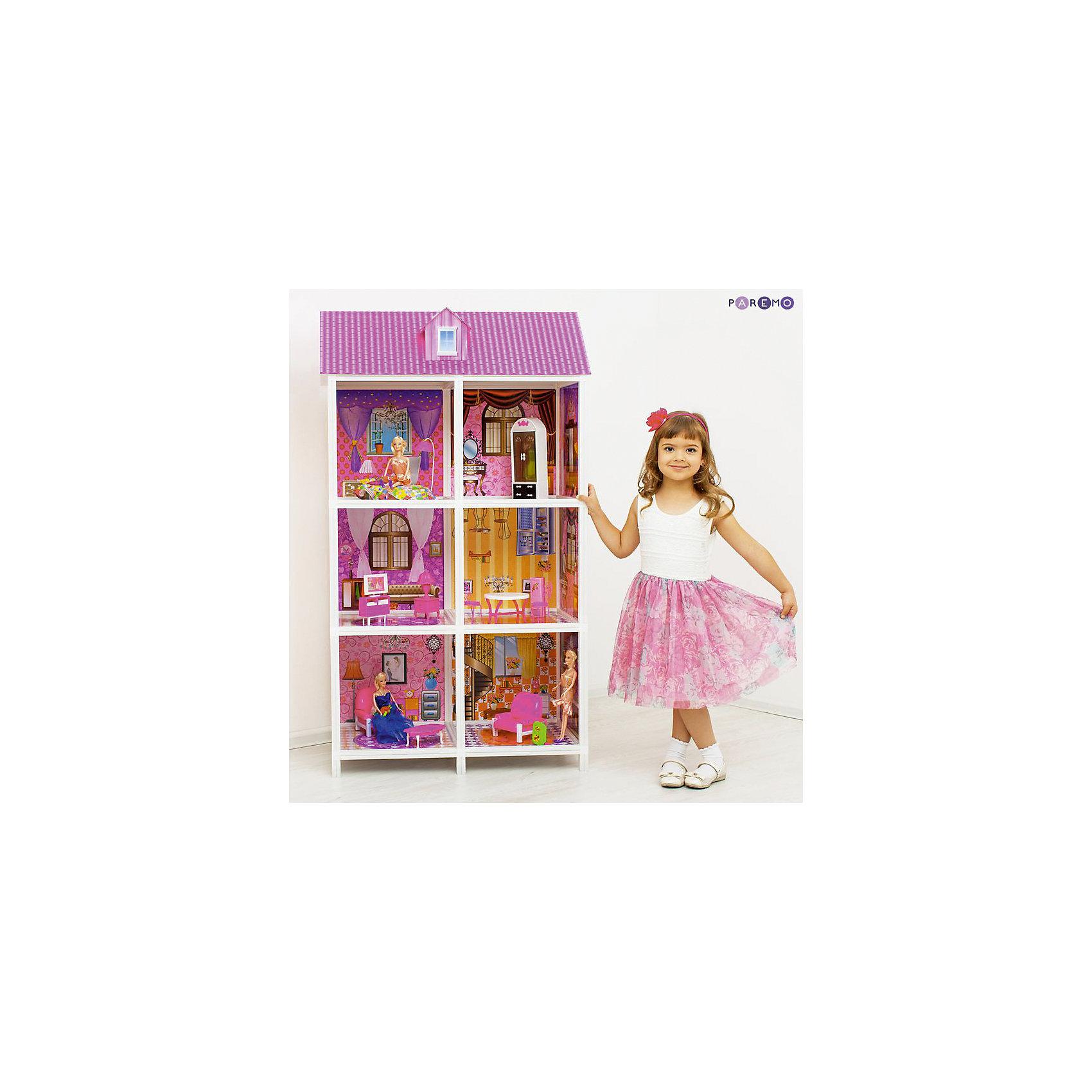 3-этажный кукольный дом (6 комнат, мебель, 3 куклы), PAREMOДомики и мебель<br>3-этажный кукольный дом (6 комнат, мебель, 3 куклы), PAREMO (Паремо).<br><br>Характеристики:<br><br>? Материал: пластик, картон.<br>? Дом частично открытый (задняя стенка глухая, лицевая часть полностью открыта).<br>? 3 этажа,6 просторных комнат.<br>? Цвет: розовый, белый.<br>? Подходит для кукол высотой до 30 см. <br>? Конструкция продается в разобранном виде. Инструкция по сборке входит в комплект.<br>? Размер игрушки в собранном виде - 84х42х136 см.<br>? Размер упаковки - 85х13х36 см.<br>? Вес: 12 кг.<br><br>В комплекте:<br><br>• Мебель: диван, кровать, тумба под телевизор, телевизор, обеденный стол, 4 стульчика, трюмо, столик для торшера, торшер, раковина, стиральная машина, вешалка, корзина для принадлежностей. <br>• 3 куклы с аксессуарами;<br><br>3-этажный кукольный дом (6 комнат, мебель, 3 куклы), PAREMO (Паремо) – это игрушка- мечта от российского производителя. Очаровательный дом предназначен для сюжетно-ролевых игр («Семья», «Дочки- матери» и т. п.). Домик выполнен в нежных бело-розовых тонах с ярко- розовой крышей, имитирующей черепичную кладку. Боковые стороны домика декорированы под кирпичную кладку. Внутренний декор поддерживает цветовое решение. Стены, пол, потолок декорированы под различные типы покрытий - плитка, обои, ковролин. В доме 3 этажа, 6 просторных комнат, 3 балкона с коваными перилами. Юная леди, проявив фантазию, самостоятельно может расположить комнаты по своему вкусу. Игры с таким домиком помогают развить в девочке фантазию, творческие способности, поможет ребенку почувствовать себя взрослой и самостоятельной. Материалы, из которых изготовлен домик, полностью соответствуют российским стандартам безопасности. Ваша малышка будет счастлива, получить в подарок славный нарядный домик для своих любимых кукол!<br><br>3-этажный кукольный дом (6 комнат, мебель, 3 куклы), PAREMO (Паремо), можно купить в нашем интернет – магазине.<br><br>Ширина мм: 850<br>Глубина мм: 360