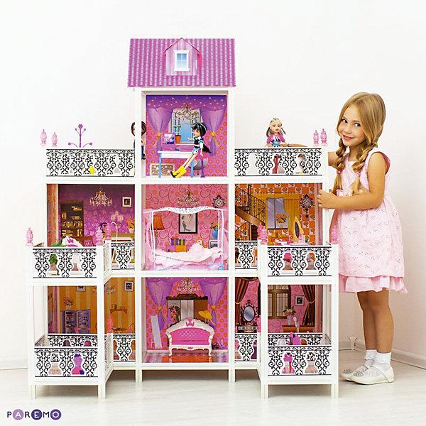 3-этажный кукольный дом (7 комнат, мебель, 3 куклы), PAREMOДомики для кукол<br>3-этажный кукольный дом (7 комнат, мебель, 3 куклы), PAREMO (Паремо).<br><br>Характеристики:<br><br>? Материал: пластик, картон.<br>? Дом частично открытый (задняя стенка глухая, лицевая часть полностью открыта).<br>? 3 этажа,7 просторных комнат, 4 балкона, 2 веранды.<br>? Цвет: розовый, белый.<br>? Подходит для кукол высотой до 30 см. <br>? Конструкция продается в разобранном виде. Инструкция по сборке входит в комплект.<br>? Размер игрушки в собранном виде - 112х76х137 см.<br>? Размер упаковки - 71х14х56 см.<br>? Вес: 12 кг.<br><br>В комплекте:<br><br>• Мебель: диван, круглая кровать, тумба под телевизор, телевизор, ванна, обеденный стол, 4 стульчика, трюмо, столик для торшера, торшер, раковина, стиральная машина, вешалка, корзина для принадлежностей. <br>• 3 куклы с аксессуарами;<br><br>3-этажный кукольный дом, PAREMO (Паремо) – это игрушка- мечта от российского производителя. Очаровательный дом предназначен для сюжетно-ролевых игр («Семья», «Дочки- матери» и т. п.). Домик выполнен в нежных бело-розовых тонах с ярко- розовой крышей, имитирующей черепичную кладку. Внутренний декор поддерживает цветовое решение. Стены, пол, потолок декорированы под различные типы покрытий - плитка, обои, ковролин. В доме 3 этажа,7 просторных комнат, 4 балкона, 2 веранды. На первом этаже ванная комната, гостиная, столовая и 2 веранды, На втором этаже – каминная, зона отдыха, кабинет, будуар, 2 балкона, На третьем – рабочий кабинет и 2 балкона. Кованые решетки балконов украшены башенками, что придает домику дворцовый стиль. Юная леди, проявив фантазию, самостоятельно может расположить комнаты по своему вкусу. Игры с таким домиком помогают развить в девочке фантазию, творческие способности, поможет ребенку почувствовать себя взрослой и самостоятельной. Материалы, из которых изготовлен домик, полностью соответствуют российским стандартам безопасности. Ваша малышка будет счастлива, получить в подарок славный 