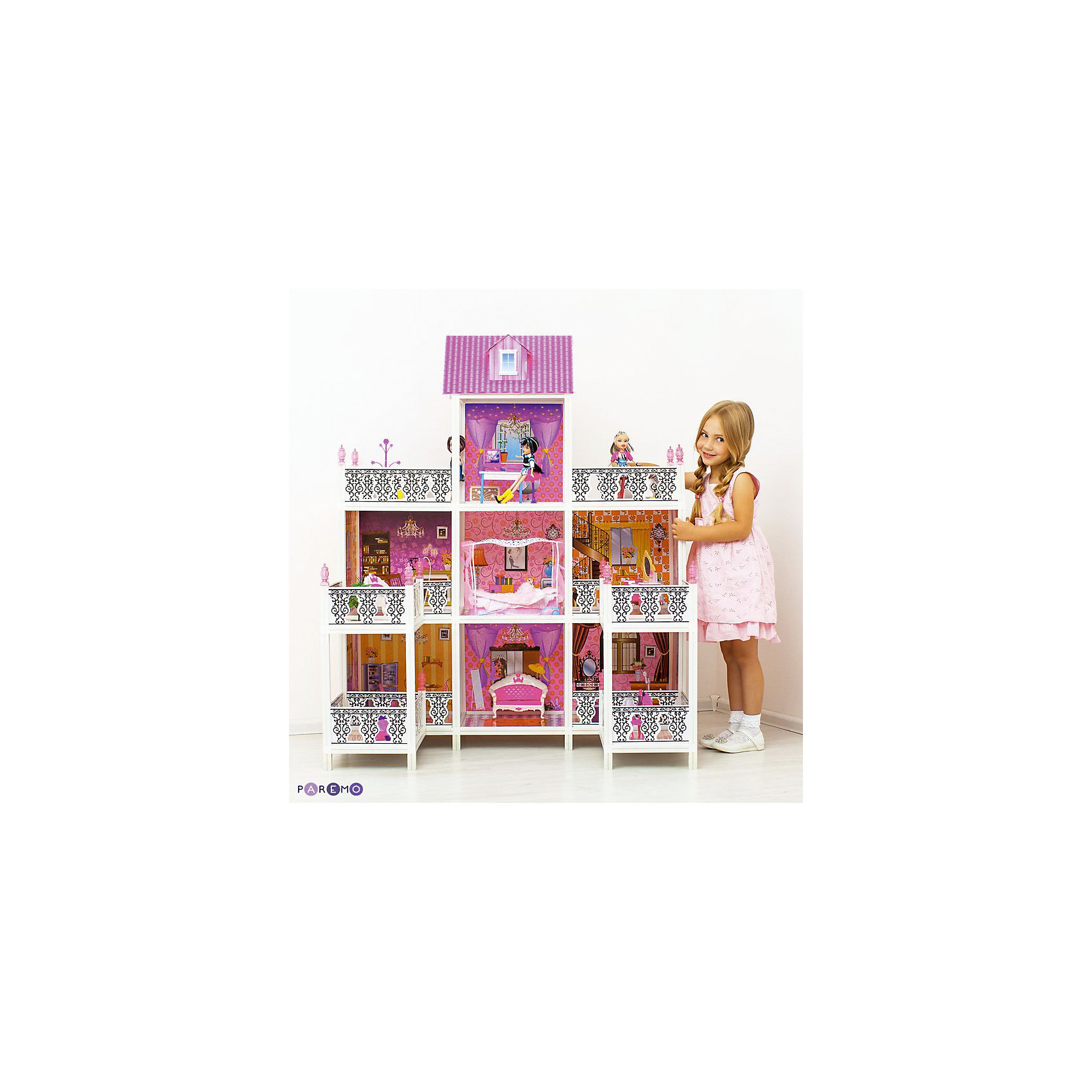 3-этажный кукольный дом (7 комнат, мебель, 3 куклы), PAREMOИгрушечные домики и замки<br>3-этажный кукольный дом (7 комнат, мебель, 3 куклы), PAREMO (Паремо).<br><br>Характеристики:<br><br>? Материал: пластик, картон.<br>? Дом частично открытый (задняя стенка глухая, лицевая часть полностью открыта).<br>? 3 этажа,7 просторных комнат, 4 балкона, 2 веранды.<br>? Цвет: розовый, белый.<br>? Подходит для кукол высотой до 30 см. <br>? Конструкция продается в разобранном виде. Инструкция по сборке входит в комплект.<br>? Размер игрушки в собранном виде - 112х76х137 см.<br>? Размер упаковки - 71х14х56 см.<br>? Вес: 12 кг.<br><br>В комплекте:<br><br>• Мебель: диван, круглая кровать, тумба под телевизор, телевизор, ванна, обеденный стол, 4 стульчика, трюмо, столик для торшера, торшер, раковина, стиральная машина, вешалка, корзина для принадлежностей. <br>• 3 куклы с аксессуарами;<br><br>3-этажный кукольный дом, PAREMO (Паремо) – это игрушка- мечта от российского производителя. Очаровательный дом предназначен для сюжетно-ролевых игр («Семья», «Дочки- матери» и т. п.). Домик выполнен в нежных бело-розовых тонах с ярко- розовой крышей, имитирующей черепичную кладку. Внутренний декор поддерживает цветовое решение. Стены, пол, потолок декорированы под различные типы покрытий - плитка, обои, ковролин. В доме 3 этажа,7 просторных комнат, 4 балкона, 2 веранды. На первом этаже ванная комната, гостиная, столовая и 2 веранды, На втором этаже – каминная, зона отдыха, кабинет, будуар, 2 балкона, На третьем – рабочий кабинет и 2 балкона. Кованые решетки балконов украшены башенками, что придает домику дворцовый стиль. Юная леди, проявив фантазию, самостоятельно может расположить комнаты по своему вкусу. Игры с таким домиком помогают развить в девочке фантазию, творческие способности, поможет ребенку почувствовать себя взрослой и самостоятельной. Материалы, из которых изготовлен домик, полностью соответствуют российским стандартам безопасности. Ваша малышка будет счастлива, получить в подарок