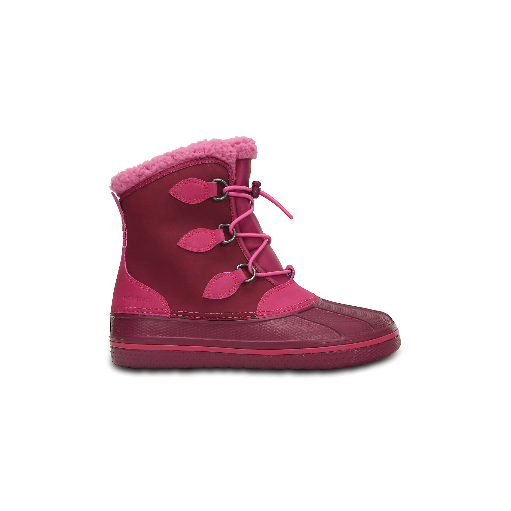Сапоги All Cast Casual Waterproof Boot Kids для девочки CROCSСноубутсы<br>Характеристики товара:<br><br>• цвет: розовый<br>• материал: верх - текстиль, низ -100% полимер Croslite™<br>• материал подкладки: искусственный мех<br>• непромокаемая носочная часть<br>• температурный режим: от -15° до +10° С<br>• легко очищаются<br>• антискользящая подошва<br>• шнуровка<br>• толстая устойчивая подошва<br>• страна бренда: США<br>• страна изготовитель: Китай<br><br>Сапоги могут быть и стильными, и теплыми! Для детской обуви крайне важно, чтобы она была удобной. Такие сапоги обеспечивают детям необходимый комфорт, а теплая подкладка создает особый микроклимат. Сапоги легко надеваются и снимаются, отлично сидят на ноге. Материал, из которого они сделаны, не дает размножаться бактериям, поэтому такая обувь препятствует образованию неприятного запаха и появлению болезней стоп. Данная модель особенно понравится детям - ведь в них можно бегать по лужам!<br>Обувь от американского бренда Crocs в данный момент завоевала широкую популярность во всем мире, и это не удивительно - ведь она невероятно удобна. Её носят врачи, спортсмены, звёзды шоу-бизнеса, люди, которым много времени приходится бывать на ногах - они понимают, как важна комфортная обувь. Продукция Crocs - это качественные товары, созданные с применением новейших технологий. Обувь отличается стильным дизайном и продуманной конструкцией. Изделие производится из качественных и проверенных материалов, которые безопасны для детей.<br><br>Сапоги для девочки от торговой марки Crocs можно купить в нашем интернет-магазине.<br><br>Ширина мм: 257<br>Глубина мм: 180<br>Высота мм: 130<br>Вес г: 420<br>Цвет: розовый<br>Возраст от месяцев: 72<br>Возраст до месяцев: 84<br>Пол: Женский<br>Возраст: Детский<br>Размер: 30,38/39,27,28,29,26,31/32,33/34,34/35,36/37,37/38<br>SKU: 5027353