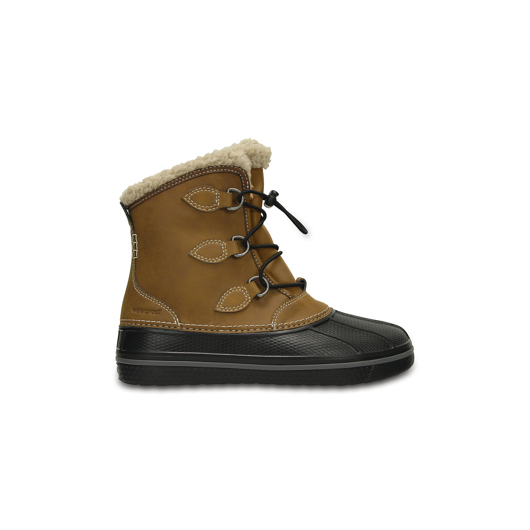 Сапоги Kids' AllCast II Boot для мальчика CROCSСноубутсы<br>Характеристики товара:<br><br>• цвет: коричневый<br>• материал: верх - текстиль, низ -100% полимер Croslite™<br>• материал подкладки: искусственный мех<br>• непромокаемая носочная часть<br>• температурный режим: от -15° до +10° С<br>• легко очищаются<br>• антискользящая подошва<br>• шнуровка<br>• толстая устойчивая подошва<br>• страна бренда: США<br>• страна изготовитель: Китай<br><br>Сапоги могут быть и стильными, и теплыми! Для детской обуви крайне важно, чтобы она была удобной. Такие сапоги обеспечивают детям необходимый комфорт, а теплая подкладка создает особый микроклимат. Сапоги легко надеваются и снимаются, отлично сидят на ноге. Материал, из которого они сделаны, не дает размножаться бактериям, поэтому такая обувь препятствует образованию неприятного запаха и появлению болезней стоп. Данная модель особенно понравится детям - ведь в них можно бегать по лужам!<br>Обувь от американского бренда Crocs в данный момент завоевала широкую популярность во всем мире, и это не удивительно - ведь она невероятно удобна. Её носят врачи, спортсмены, звёзды шоу-бизнеса, люди, которым много времени приходится бывать на ногах - они понимают, как важна комфортная обувь. Продукция Crocs - это качественные товары, созданные с применением новейших технологий. Обувь отличается стильным дизайном и продуманной конструкцией. Изделие производится из качественных и проверенных материалов, которые безопасны для детей.<br><br>Сапоги для мальчика от торговой марки Crocs можно купить в нашем интернет-магазине.<br><br>Ширина мм: 257<br>Глубина мм: 180<br>Высота мм: 130<br>Вес г: 420<br>Цвет: коричневый<br>Возраст от месяцев: 36<br>Возраст до месяцев: 48<br>Пол: Мужской<br>Возраст: Детский<br>Размер: 27,38/39,37/38,36/37,34/35,33/34,31/32,26,30,29,28<br>SKU: 5027365