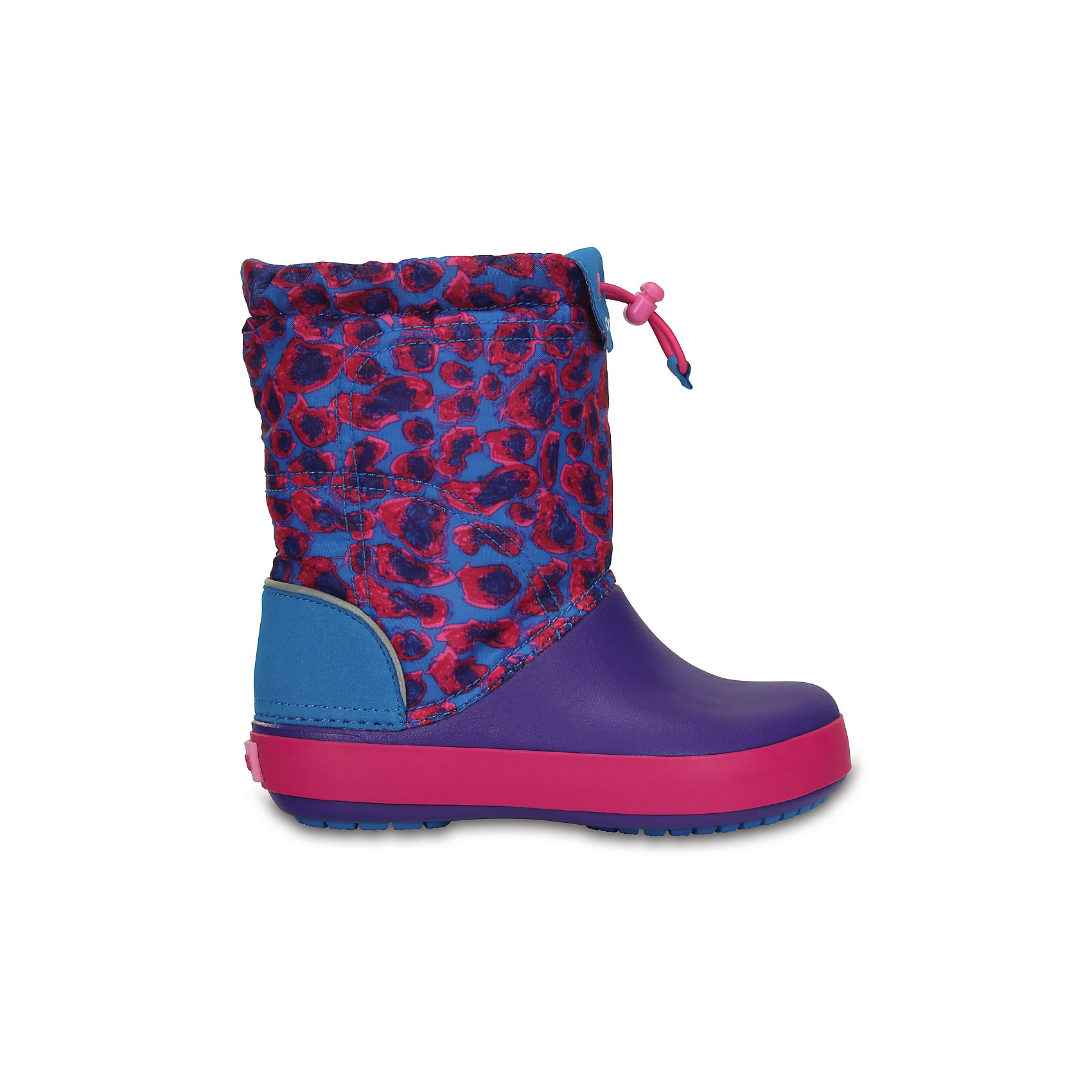 Сапоги Kids' Crocband LodgePoint Graphic Boot CROCSСноубутсы<br>Характеристики товара:<br><br>• цвет: фиолетовый/синий<br>• материал: верх - текстиль, низ -100% полимер Croslite™<br>• материал подкладки: текстиль<br>• непромокаемая носочная часть<br>• температурный режим: от -15° до +10° С<br>• легко очищаются<br>• антискользящая подошва<br>• шнурок со стоппером<br>• толстая устойчивая подошва<br>• страна бренда: США<br>• страна изготовитель: Китай<br><br>Сапоги могут быть и стильными, и теплыми! Для детской обуви крайне важно, чтобы она была удобной. Такие сапоги обеспечивают детям необходимый комфорт, а теплая подкладка создает особый микроклимат. Сапоги легко надеваются и снимаются, отлично сидят на ноге. Материал, из которого они сделаны, не дает размножаться бактериям, поэтому такая обувь препятствует образованию неприятного запаха и появлению болезней стоп. Данная модель особенно понравится детям - ведь в них можно бегать по лужам!<br>Обувь от американского бренда Crocs в данный момент завоевала широкую популярность во всем мире, и это не удивительно - ведь она невероятно удобна. Её носят врачи, спортсмены, звёзды шоу-бизнеса, люди, которым много времени приходится бывать на ногах - они понимают, как важна комфортная обувь. Продукция Crocs - это качественные товары, созданные с применением новейших технологий. Обувь отличается стильным дизайном и продуманной конструкцией. Изделие производится из качественных и проверенных материалов, которые безопасны для детей.<br><br>Сапоги для девочки от торговой марки Crocs можно купить в нашем интернет-магазине.<br><br>Ширина мм: 257<br>Глубина мм: 180<br>Высота мм: 130<br>Вес г: 420<br>Цвет: фиолетовый<br>Возраст от месяцев: 24<br>Возраст до месяцев: 36<br>Пол: Женский<br>Возраст: Детский<br>Размер: 26,25,31/32,33/34,34/35,23,24,27,28,29,30<br>SKU: 5027415