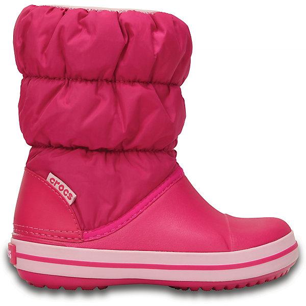 Сноубутсы Winter Puff Boot Kids для девочки CROCSСноубутсы<br>Характеристики товара:<br><br>• цвет: розовый<br>• материал: верх - текстиль, низ -100% полимер Croslite™<br>• материал подкладки: текстиль<br>• непромокаемая носочная часть<br>• температурный режим: от -15° до +10° С<br>• легко очищаются<br>• антискользящая подошва<br>• резинка наверху<br>• толстая устойчивая подошва<br>• страна бренда: США<br>• страна изготовитель: Китай<br><br>Сапоги могут быть и стильными, и теплыми! Для детской обуви крайне важно, чтобы она была удобной. Такие сапоги обеспечивают детям необходимый комфорт, а теплая подкладка создает особый микроклимат. Сапоги легко надеваются и снимаются, отлично сидят на ноге. Материал, из которого они сделаны, не дает размножаться бактериям, поэтому такая обувь препятствует образованию неприятного запаха и появлению болезней стоп. Данная модель особенно понравится детям - ведь в них можно бегать по лужам!<br>Обувь от американского бренда Crocs в данный момент завоевала широкую популярность во всем мире, и это не удивительно - ведь она невероятно удобна. Её носят врачи, спортсмены, звёзды шоу-бизнеса, люди, которым много времени приходится бывать на ногах - они понимают, как важна комфортная обувь. Продукция Crocs - это качественные товары, созданные с применением новейших технологий. Обувь отличается стильным дизайном и продуманной конструкцией. Изделие производится из качественных и проверенных материалов, которые безопасны для детей.<br><br>Сапоги для девочки от торговой марки Crocs можно купить в нашем интернет-магазине.<br>Ширина мм: 257; Глубина мм: 180; Высота мм: 130; Вес г: 420; Цвет: розовый; Возраст от месяцев: 24; Возраст до месяцев: 24; Пол: Женский; Возраст: Детский; Размер: 25,26,31/32,33/34,34/35,30,23,24,27,28,29; SKU: 5027457;