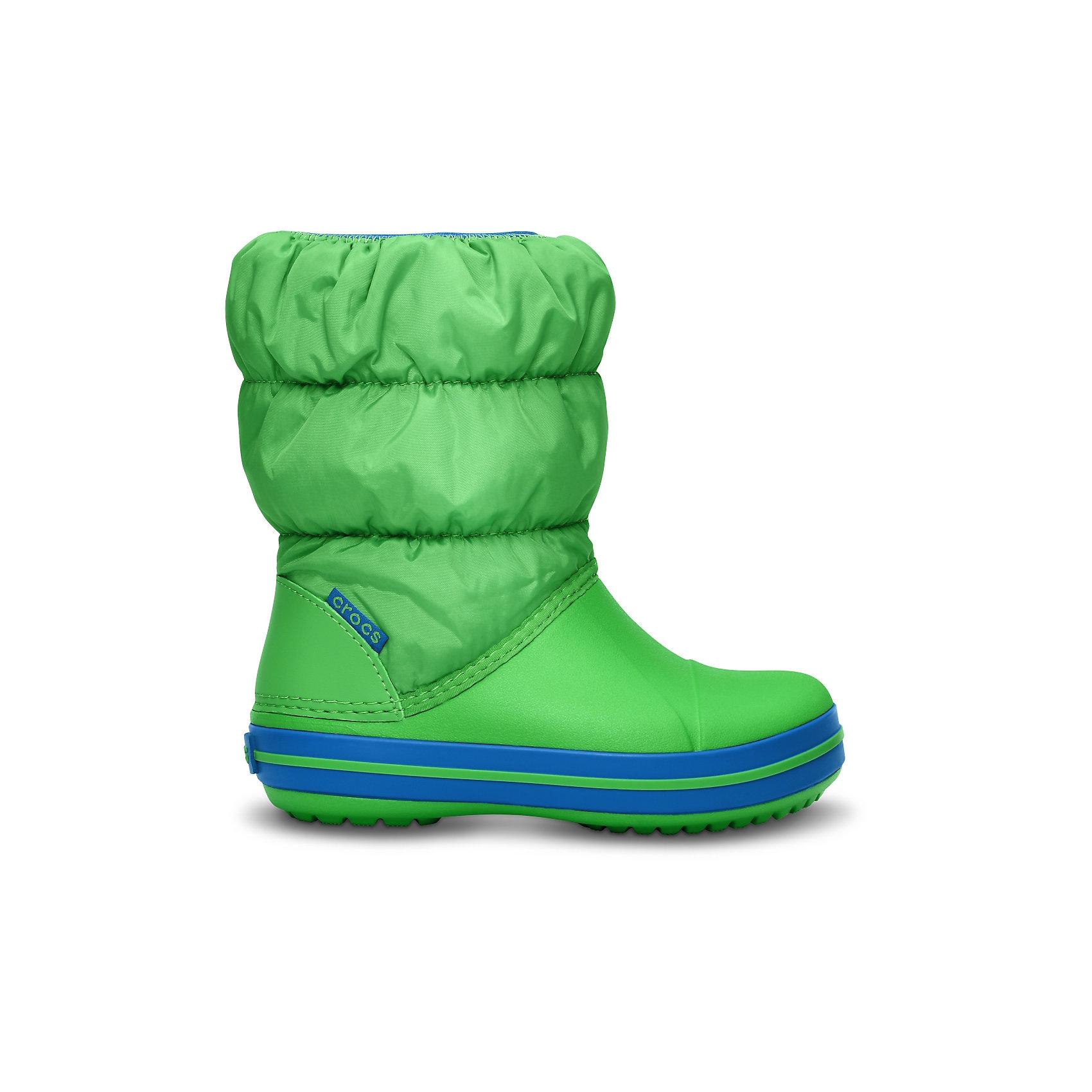 Сапоги Winter Puff Boot Kids CROCSХарактеристики товара:<br><br>• цвет: зеленый<br>• материал: верх - текстиль, низ -100% полимер Croslite™<br>• материал подкладки: текстиль<br>• непромокаемая носочная часть<br>• температурный режим: от -15° до +10° С<br>• легко очищаются<br>• антискользящая подошва<br>• резинка наверху<br>• толстая устойчивая подошва<br>• страна бренда: США<br>• страна изготовитель: Китай<br><br>Сапоги могут быть и стильными, и теплыми! Для детской обуви крайне важно, чтобы она была удобной. Такие сапоги обеспечивают детям необходимый комфорт, а теплая подкладка создает особый микроклимат. Сапоги легко надеваются и снимаются, отлично сидят на ноге. Материал, из которого они сделаны, не дает размножаться бактериям, поэтому такая обувь препятствует образованию неприятного запаха и появлению болезней стоп. Данная модель особенно понравится детям - ведь в них можно бегать по лужам!<br>Обувь от американского бренда Crocs в данный момент завоевала широкую популярность во всем мире, и это не удивительно - ведь она невероятно удобна. Её носят врачи, спортсмены, звёзды шоу-бизнеса, люди, которым много времени приходится бывать на ногах - они понимают, как важна комфортная обувь. Продукция Crocs - это качественные товары, созданные с применением новейших технологий. Обувь отличается стильным дизайном и продуманной конструкцией. Изделие производится из качественных и проверенных материалов, которые безопасны для детей.<br><br>Сапоги для мальчика от торговой марки Crocs можно купить в нашем интернет-магазине.<br><br>Ширина мм: 257<br>Глубина мм: 180<br>Высота мм: 130<br>Вес г: 420<br>Цвет: зеленый<br>Возраст от месяцев: 36<br>Возраст до месяцев: 48<br>Пол: Унисекс<br>Возраст: Детский<br>Размер: 24,29,28,23,30,27,34/35,33/34,31/32,26,25<br>SKU: 5027481