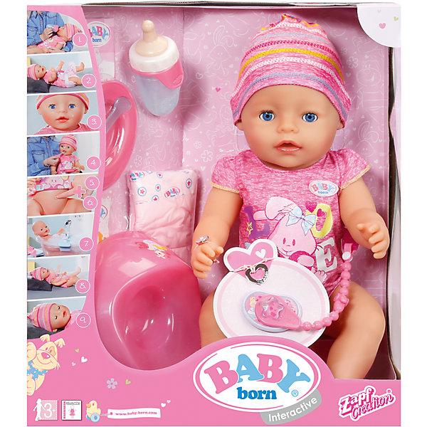 Кукла Интерактивная, 43 см, BABY bornКуклы<br>Характеристики:<br><br>• тип игрушки: пупс;<br>• возраст: от 3 лет;<br>• размер игрушки: 43 см;<br>• размер: 33х18х38 см;<br>• цвет: розовый;<br>• вес: 1,6 кг;<br>• материал: винил, текстиль;<br>• комплектация:  кукла, бутылочка, соска на цепочке, горшок, тарелка и ложка, питание для пупса, два браслета, подгузник;<br>• бренд: Zapf Creation;<br>• страна производителя: Китай.<br><br>Кукла «Интерактивная», 43 см, BABY born станет любимой игрушкой девочки старше 3 лет. Он очень похож на настоящего малыша: пупса можно кормить, сажать на горшок, менять ему памперс, гулять с ним в коляске. В комплекте с интерактивной куклой Baby Born Zapf Creation поставляются аксессуары для игры: бутылочка, соска на цепочке, горшок, тарелка и ложка, питание для пупса, два браслета, подгузник.<br><br>Интерактивная кукла Беби Бон одета в ярко-розовый боди и шапочку, глазки у пупса Baby Born закрываются, она пьет и ест из бутылочки, после чего плачет или писает. Если пупсу один раз нажать на пупочек, он пописает, при повторном нажатии – покакает,<br>куклу можно купать.<br><br>Куклу «Интерактивная», 43 см, BABY born можно купить в нашем интернет-магазине.<br>Ширина мм: 180; Глубина мм: 380; Высота мм: 330; Вес г: 1600; Возраст от месяцев: 36; Возраст до месяцев: 120; Пол: Женский; Возраст: Детский; SKU: 5029245;