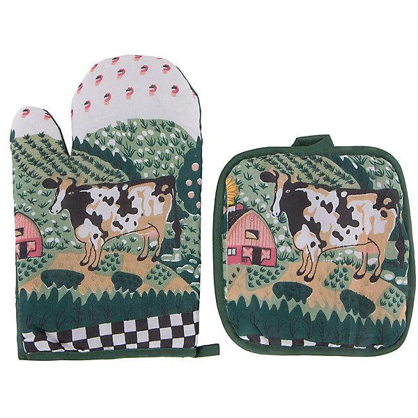 Набор кухонный арт.31881: рукавица+прихватка, Magic HomeДетская посуда<br>Сувенирный набор для кухни включает в себя 2 предмета: рукавицу и прихватку. Изделия декорированы рисунками: буренка, пасущаяся на лугу. Рукавичка и прихватка имеют петельки для подвешивания на крючки, защищают нежные руки хозяйки от соприкосновения с горячими поверхностями кастрюль, сковородок и форм для выпечки. <br><br>Дополнительная информация:<br><br>Размер: 16х25 см<br><br>Материал: 65% полиэстер, 35% хлопок<br><br>Набор кухонный арт.31881: рукавица+прихватка, Magic Home можно купить в нашем интернет-магазине.<br><br>Ширина мм: 140<br>Глубина мм: 50<br>Высота мм: 100<br>Вес г: 69<br>Возраст от месяцев: 216<br>Возраст до месяцев: 1200<br>Пол: Унисекс<br>Возраст: Детский<br>SKU: 5030477