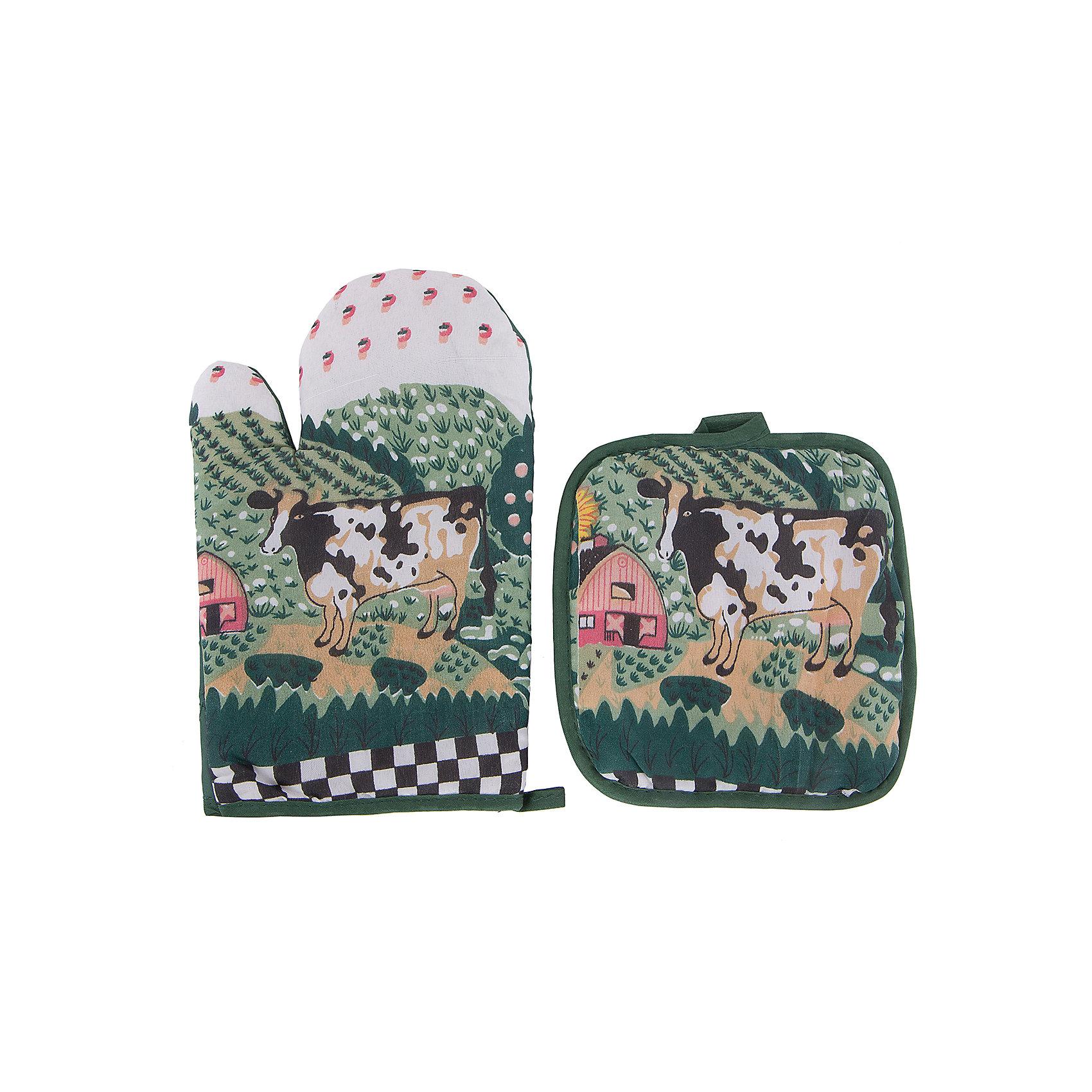 Набор кухонный арт.31881: рукавица+прихватка, Magic HomeПосуда<br>Сувенирный набор для кухни включает в себя 2 предмета: рукавицу и прихватку. Изделия декорированы рисунками: буренка, пасущаяся на лугу. Рукавичка и прихватка имеют петельки для подвешивания на крючки, защищают нежные руки хозяйки от соприкосновения с горячими поверхностями кастрюль, сковородок и форм для выпечки. <br><br>Дополнительная информация:<br><br>Размер: 16х25 см<br><br>Материал: 65% полиэстер, 35% хлопок<br><br>Набор кухонный арт.31881: рукавица+прихватка, Magic Home можно купить в нашем интернет-магазине.<br><br>Ширина мм: 140<br>Глубина мм: 50<br>Высота мм: 100<br>Вес г: 69<br>Возраст от месяцев: 216<br>Возраст до месяцев: 1200<br>Пол: Унисекс<br>Возраст: Детский<br>SKU: 5030477