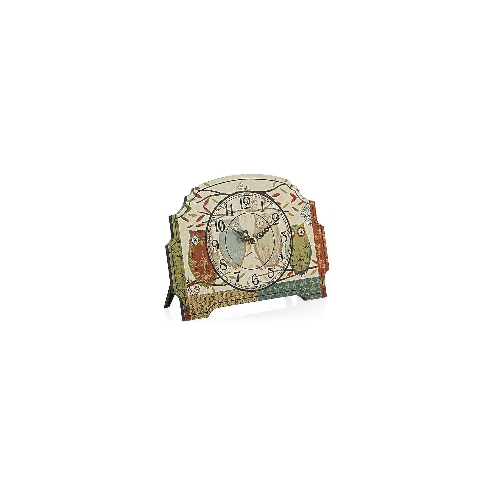 Часы настольные Четыре совушки, Magic HomeПредметы интерьера<br>Настольные часы с открытым циферблатом устанавливаются на плоской поверхности стола, полки или прикроватной тумбочки. Ход стрелок плавный, часы кварцевые, без боя, с циферблатом, часовой механизм находится на задней стенке часов. Корпус часов Magic Home – мдф-основа с рисунком «Четыре совушки». <br><br>Дополнительная информация:<br><br>Для работы часов требуется 1 батарейка типа АА (приобретается отдельно).<br><br>Размер: 18х24 см<br><br>Материал: МДФ - древесноволокнистая плита средней плотности, изготовленная из древесных опилок мелкой фракции.<br><br>Часы настольные Четыре совушки, Magic Home можно купить в нашем интернет-магазине.<br><br>Ширина мм: 270<br>Глубина мм: 190<br>Высота мм: 50<br>Вес г: 438<br>Возраст от месяцев: 216<br>Возраст до месяцев: 1200<br>Пол: Унисекс<br>Возраст: Детский<br>SKU: 5030487
