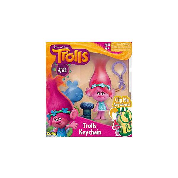 Фигурка Тролля Poppy, на брелке в наборе с расческой, Тролли