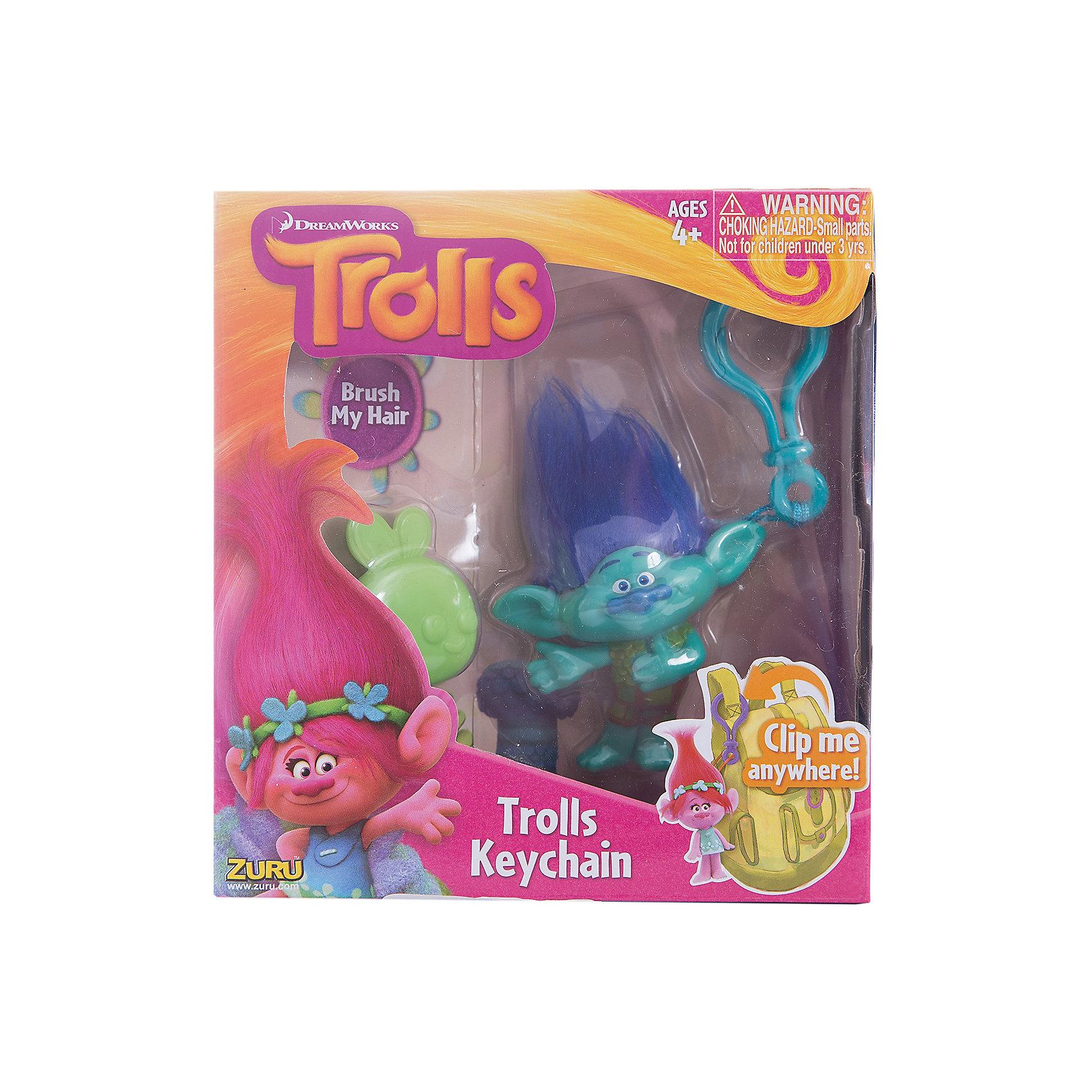 Фигурка Тролля Branch, на брелке в наборе с расческой, Тролли