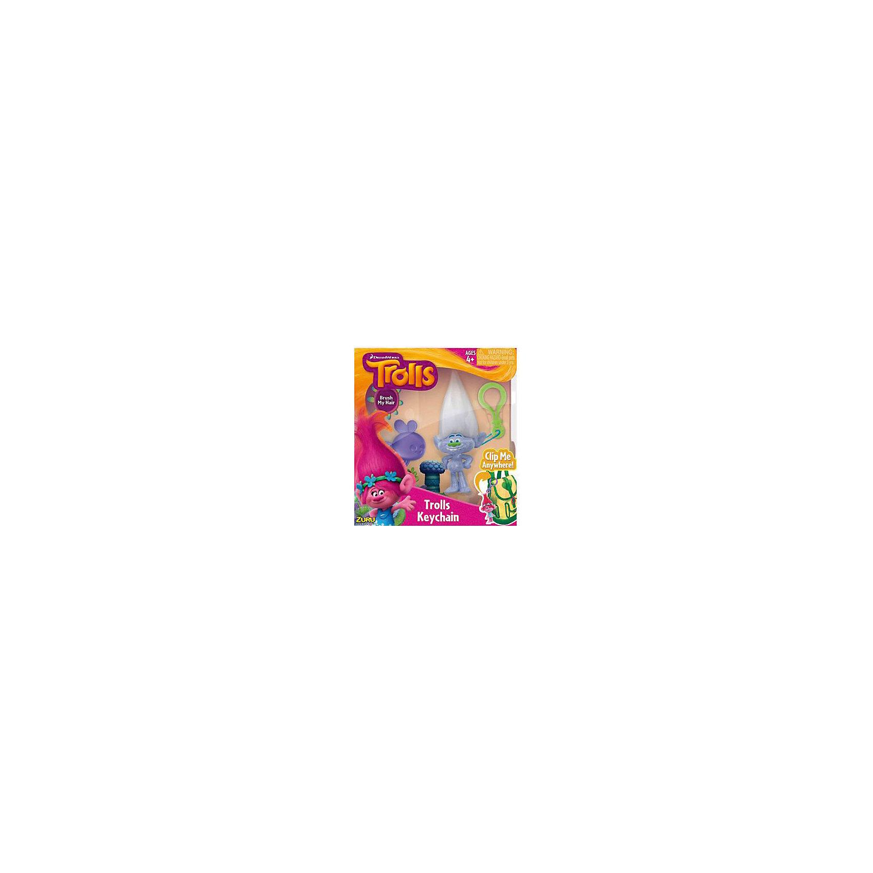 Фигурка Тролля Guy Diamond, на брелке в наборе с расческой, Тролли