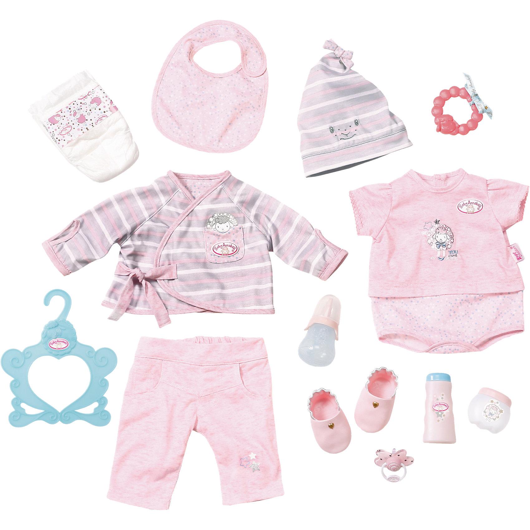 Супернабор с одеждой и аксессуарами, Baby AnnabellВ составе набора: штанишки, кофта с длинными рукавами, шапочка, боди, вешалка, ботиночки, подгузник, соска, бутылочка, прорезыватель для зубов и два игрушечных тюбика крема.<br><br>Ширина мм: 280<br>Глубина мм: 80<br>Высота мм: 362<br>Вес г: 475<br>Возраст от месяцев: 36<br>Возраст до месяцев: 60<br>Пол: Женский<br>Возраст: Детский<br>SKU: 5030815