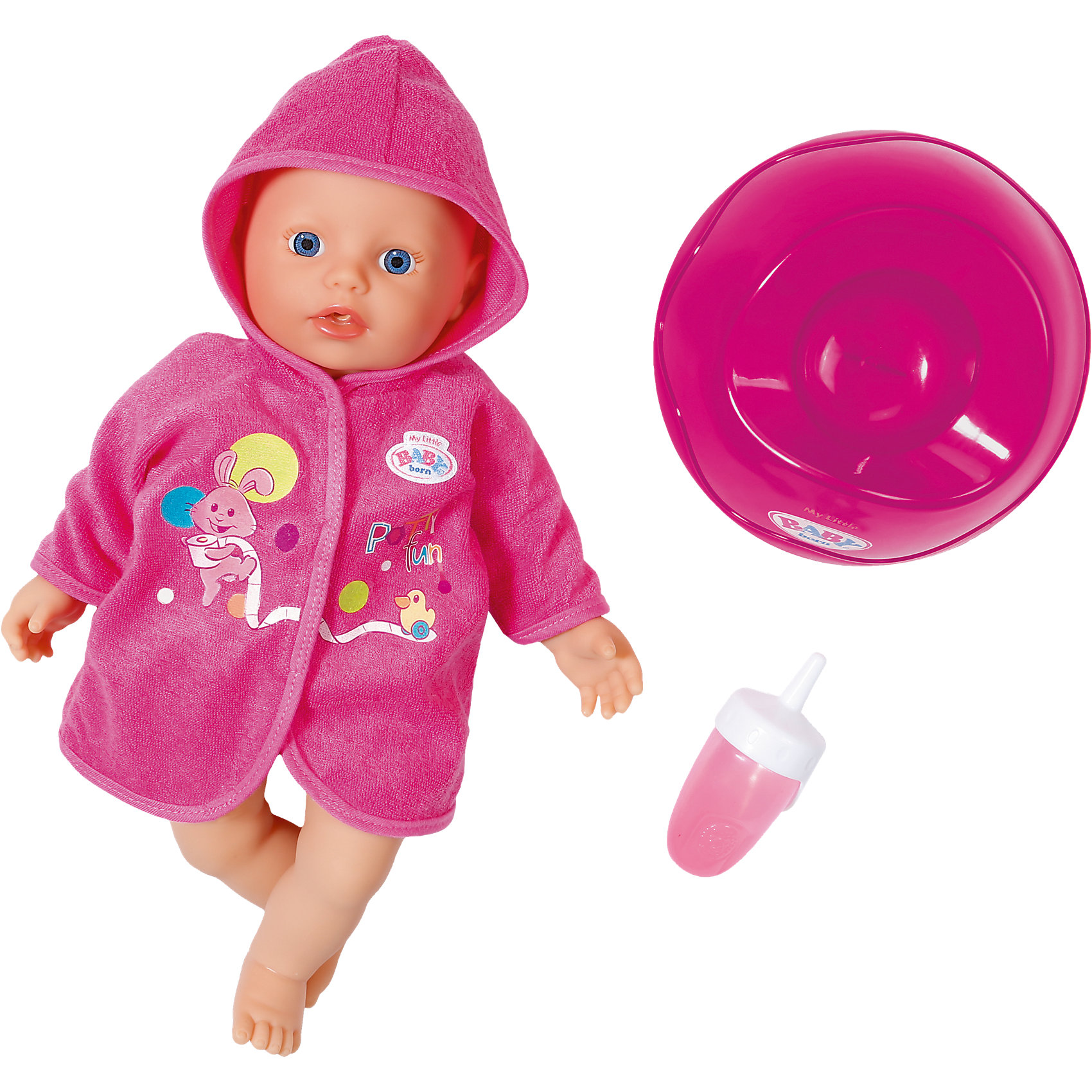 Кукла быстросохнущая с горшком и бутылочкой, 32 см, My Little BABY bornКуклы-пупсы<br>Характеристики товара:<br><br>• возраст от 3 лет;<br>• материал: текстиль, пластик;<br>• в комплекте: кукла, горшок, бутылочка; <br>• высота куклы 32 см;<br>• размер упаковки 29х25х15 см;<br>• страна производитель: Китай.<br><br>Кукла с горшком и бутылочкой My Little Baby Born выполнена в виде младенца с большими глазками. Куколка одета в мягкий халатик с рисунками. Куколку можно брать с собой в ванную и купать ее. Благодаря специальному наполнителю в виде гранул она быстро сохнет. После купания ее можно напоить из бутылочки посадить на горшок. Игра с куклой прививает девочке чувство любви, заботы и ответственности. <br><br>Кукла быстросохнущая с горшком и бутылочкой My Little Baby Born<br><br>Ширина мм: 290<br>Глубина мм: 250<br>Высота мм: 160<br>Вес г: 620<br>Возраст от месяцев: 12<br>Возраст до месяцев: 36<br>Пол: Женский<br>Возраст: Детский<br>SKU: 5030818