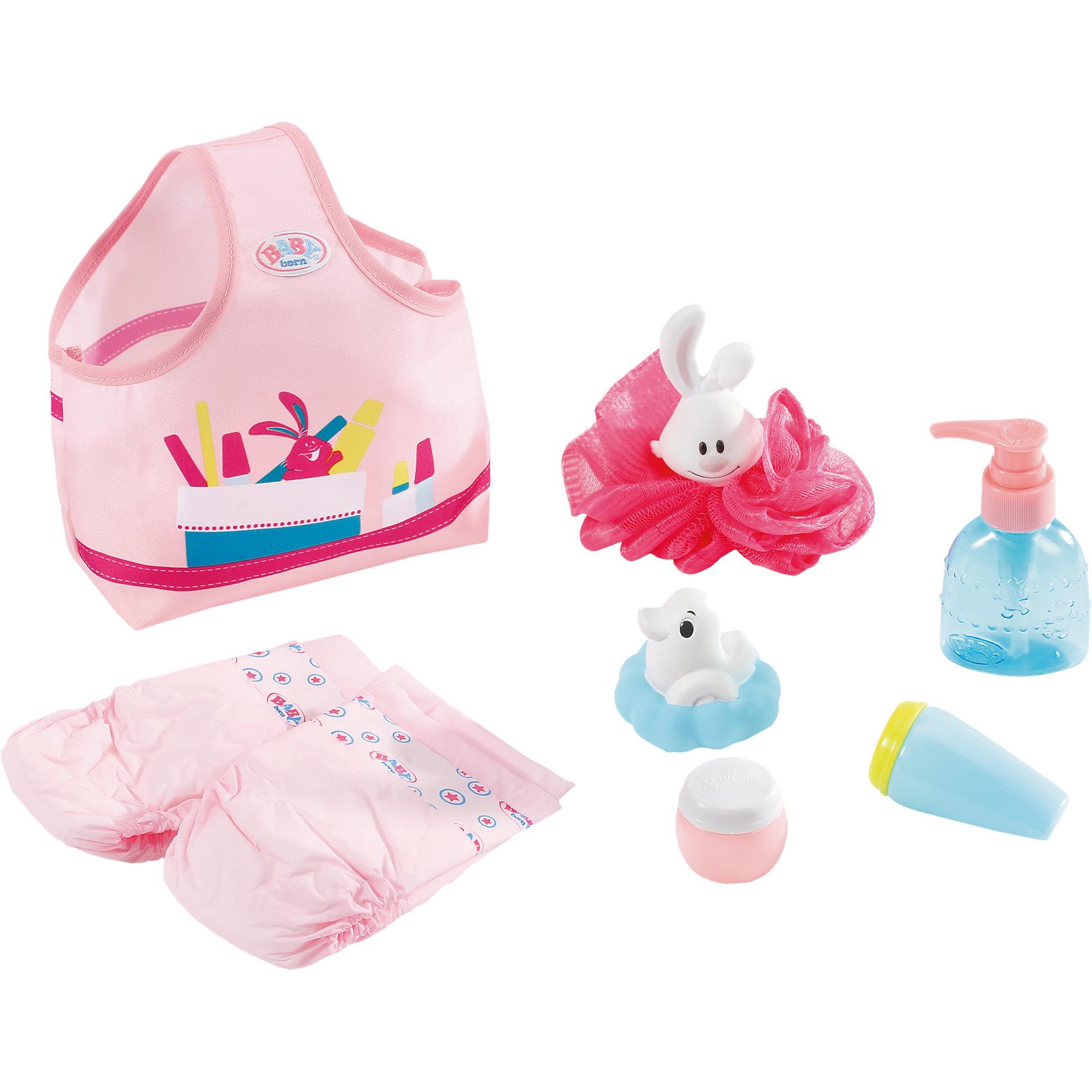 Набор С легким паром, BABY bornКукольная одежда и аксессуары<br>Всё, что нужно твоей малышке для принятия ванны, собрано в сумочку: мочалка, резиновая уточка, игрушечные пена для ванны и крема, два подгузника.<br><br>Ширина мм: 400<br>Глубина мм: 184<br>Высота мм: 88<br>Вес г: 267<br>Возраст от месяцев: 36<br>Возраст до месяцев: 60<br>Пол: Женский<br>Возраст: Детский<br>SKU: 5030822