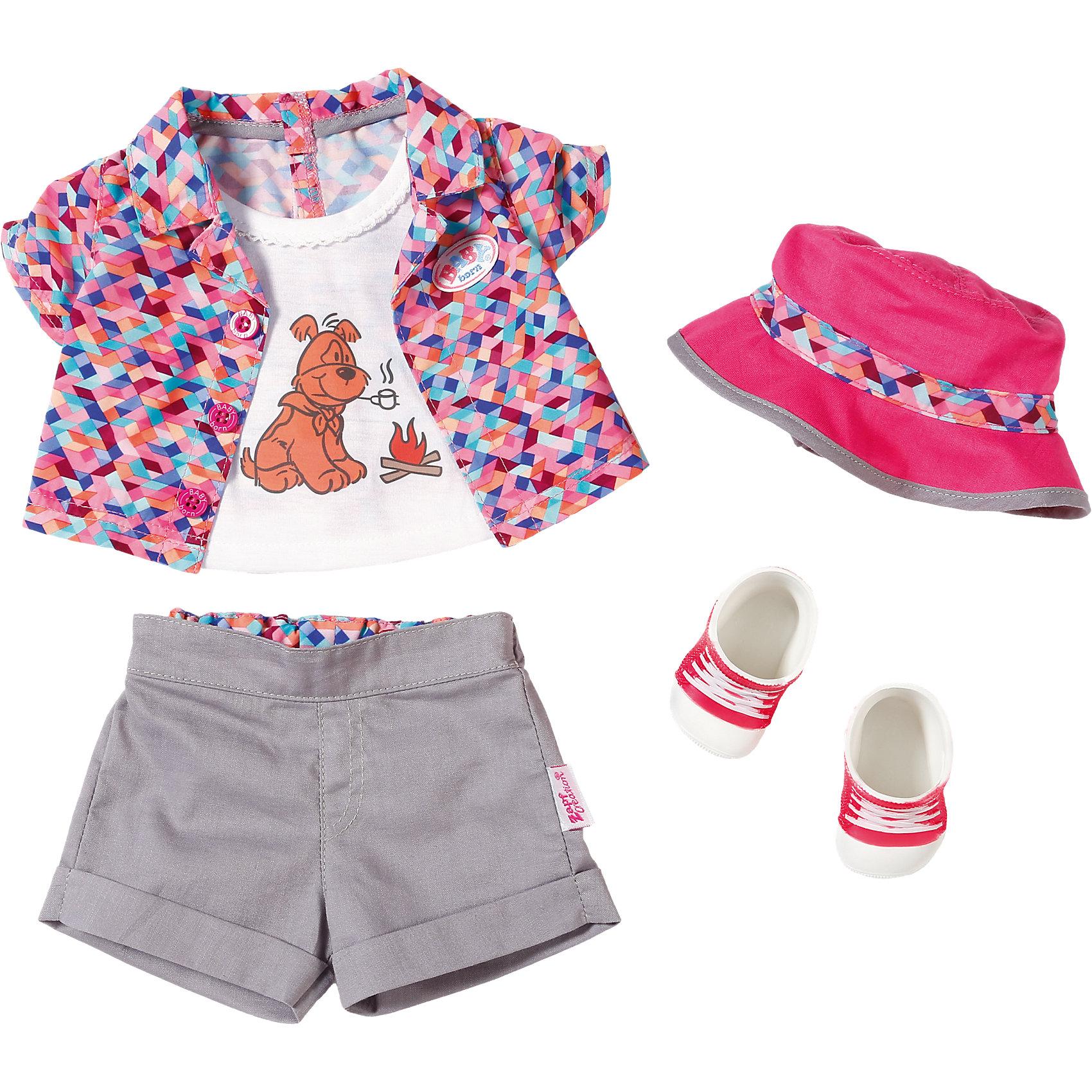 Одежда для отдыха на природе, BABY bornКукольная одежда и аксессуары<br>Одежда для отдыха на природе, BABY born <br><br>Характеристики:<br><br>• В набор входит: кофточка, шорты, панамка, ботиночки<br>• Состав: текстиль, пластик<br>• Размер упаковки: 36 * 8 * 28 см.<br>• Для детей в возрасте: от 3 лет<br>• Страна производитель: Китай<br><br>С новой одеждой для дома ребёнок сможет переодевать куклу для прогулки на природе и продолжать свои игры, делая их ещё веселее. Одежда выглядит как настоящая, кофточка застёгивается на липучку, а шортики сделаны на резиночке и легко одеваются. <br><br>Стиль комплекта отлично сочетается между собой, сдержанные серые штанишки подходят к яркой кофточке с футболкой, дополняя образ новыми ботиночками и панамкой от солнца. Это фирменная одежда для кукол, поэтому она подойдёт к любой кукле бренда BABY born (Бейби Бон). <br><br>Одежду для отдыха на природе, BABY born можно купить в нашем интернет-магазине.<br><br>Ширина мм: 280<br>Глубина мм: 80<br>Высота мм: 360<br>Вес г: 350<br>Возраст от месяцев: 36<br>Возраст до месяцев: 60<br>Пол: Женский<br>Возраст: Детский<br>SKU: 5030827